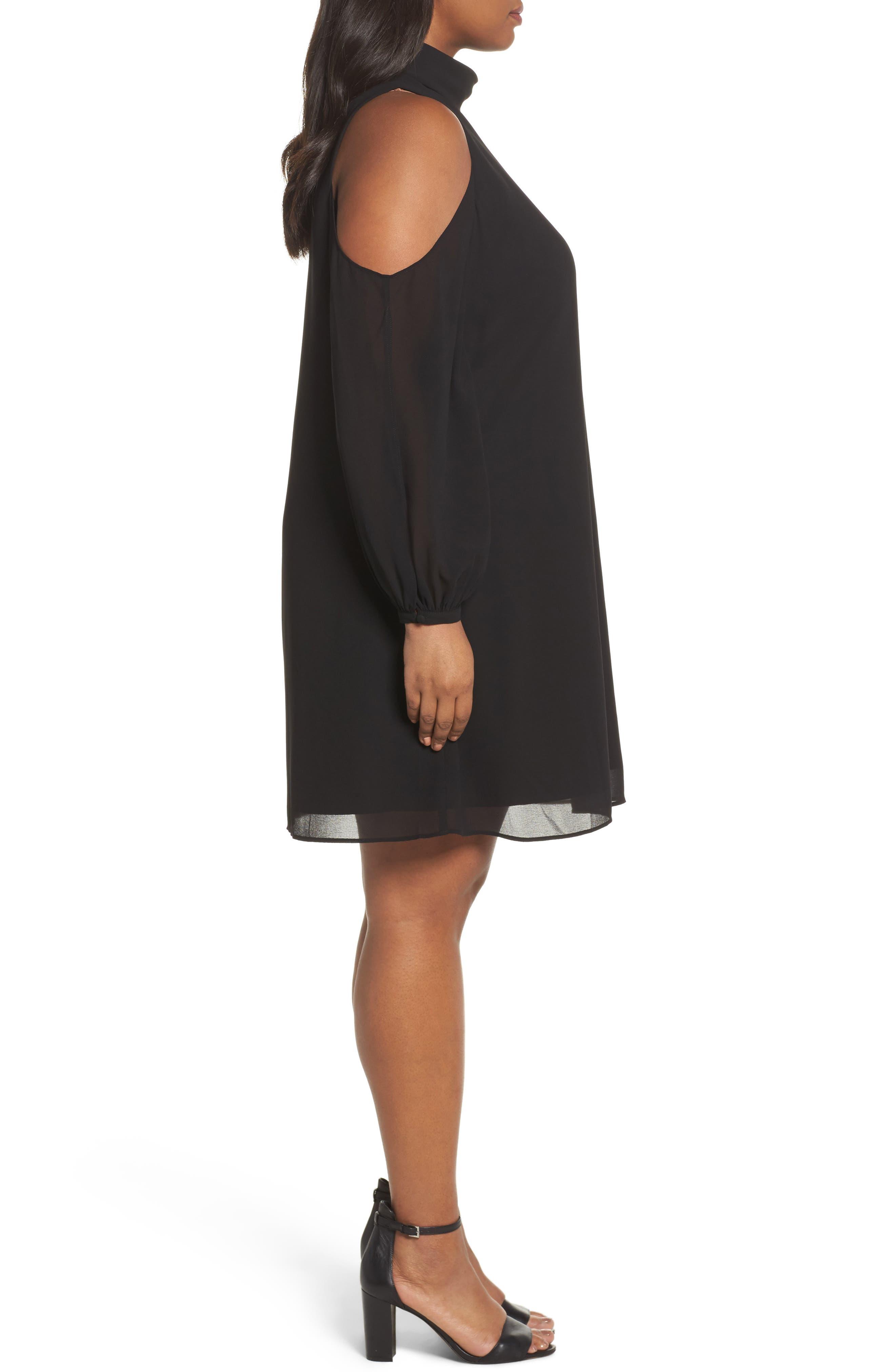 Choker Chiffon Dress,                             Alternate thumbnail 3, color,                             Black