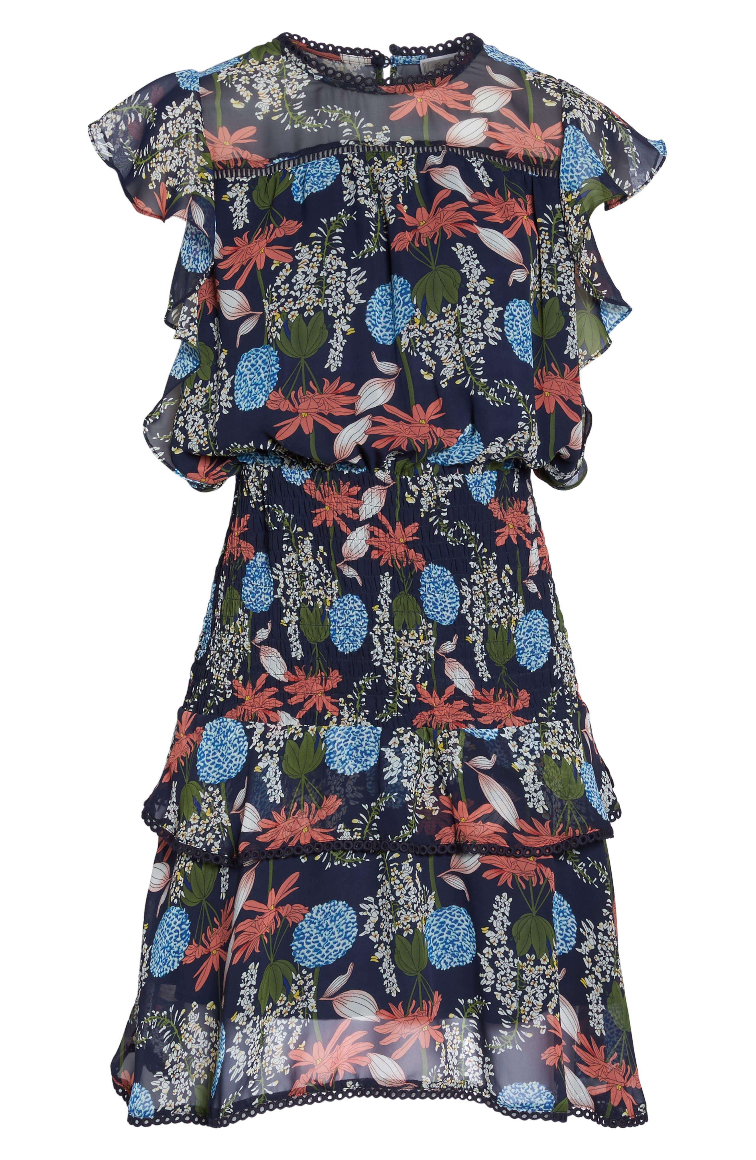 Tiered Blouson Dress,                             Alternate thumbnail 6, color,                             Navy Stella Floral
