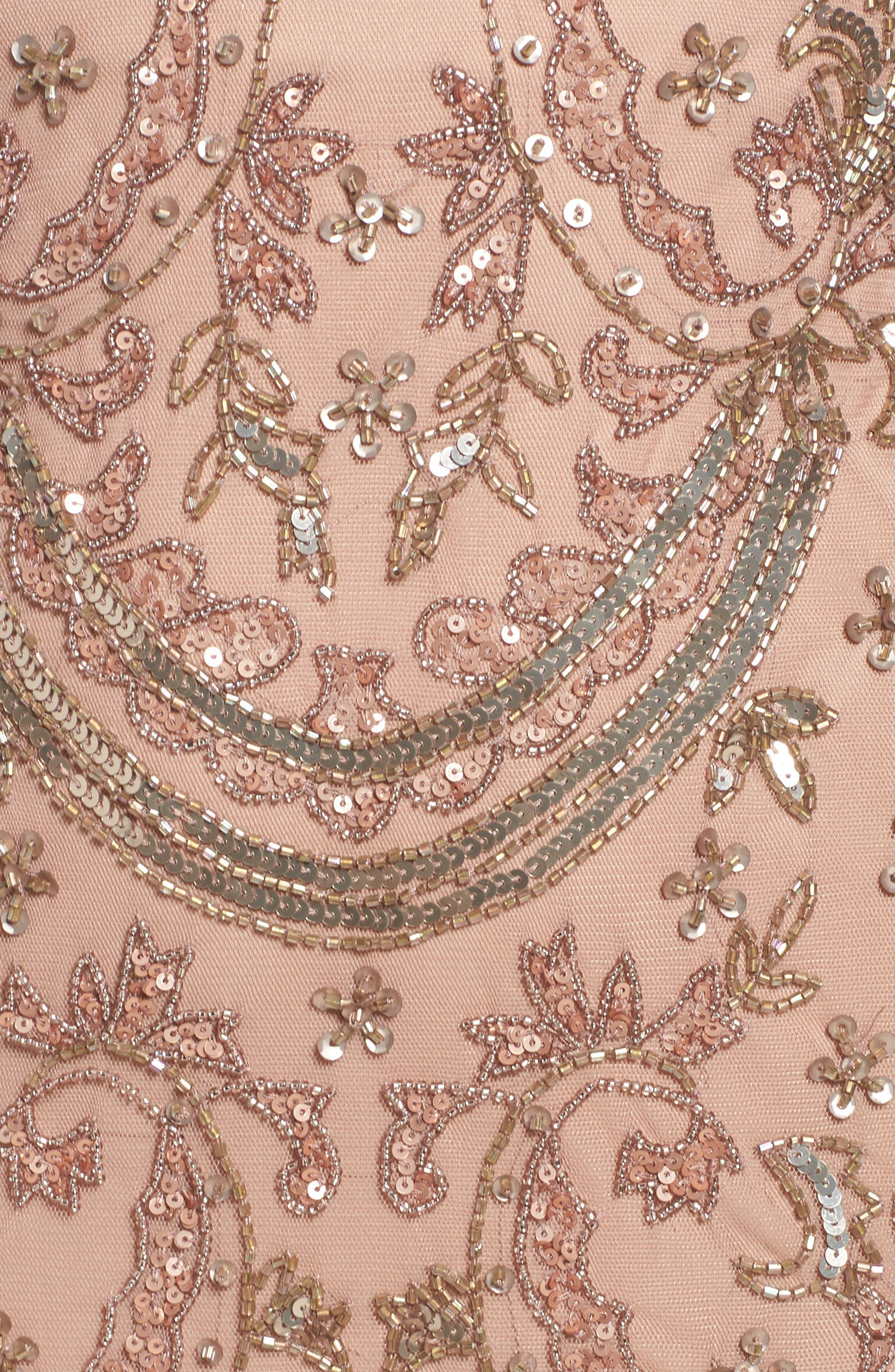 Beaded Mesh Dress,                             Alternate thumbnail 5, color,                             Rose Gold