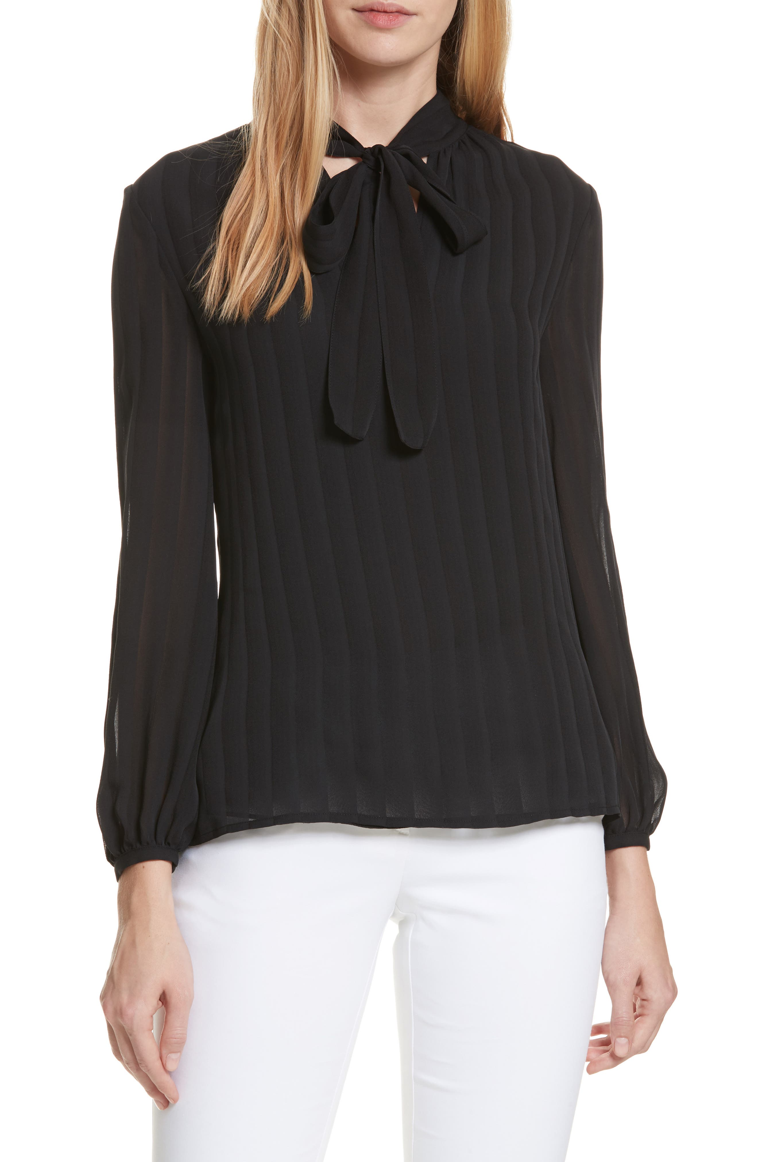 Alternate Image 1 Selected - Tory Burch Emma Bow Neck Silk Blouse