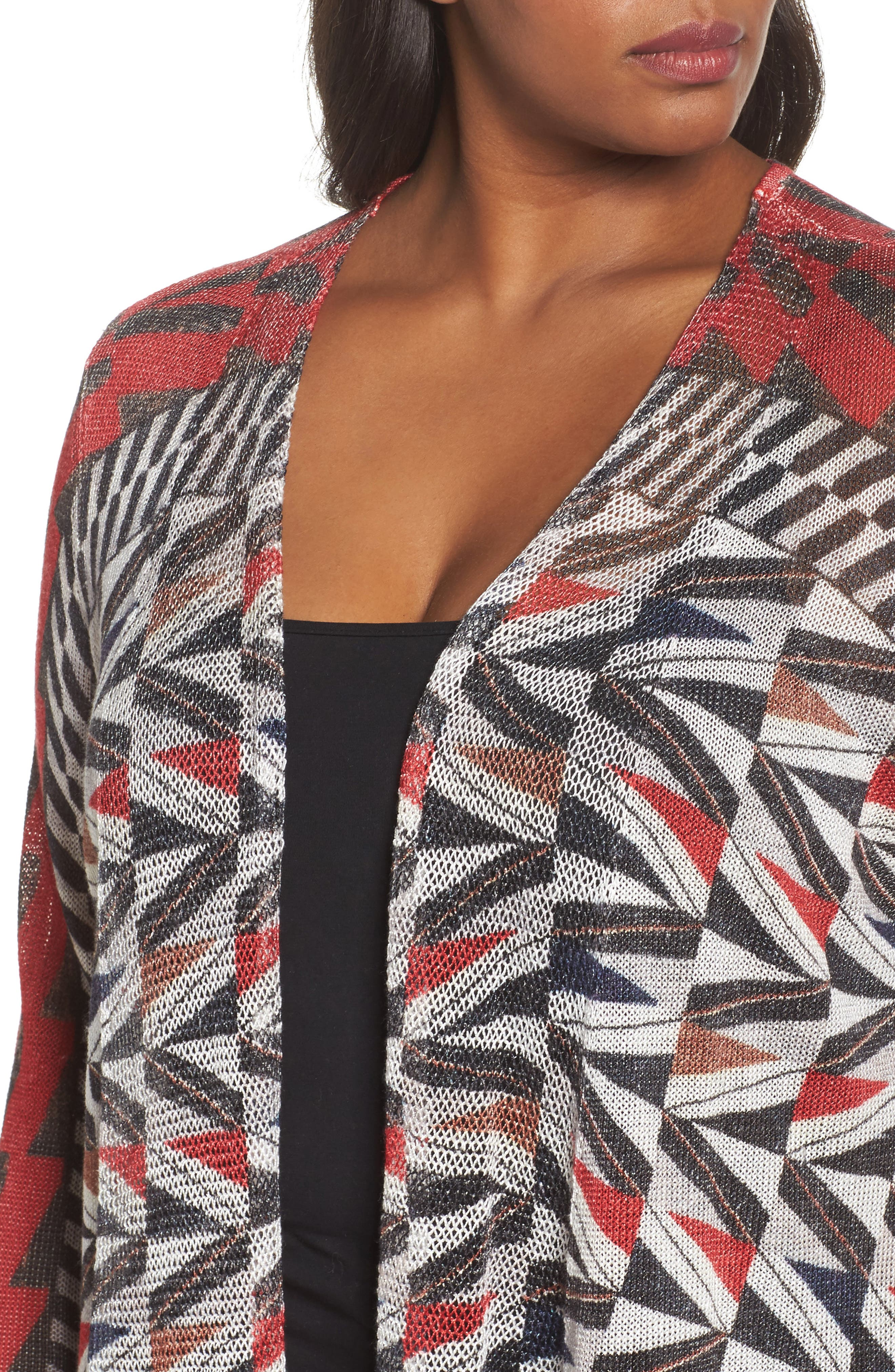 Zigzag Open Front Cardigan,                             Alternate thumbnail 4, color,                             Multi