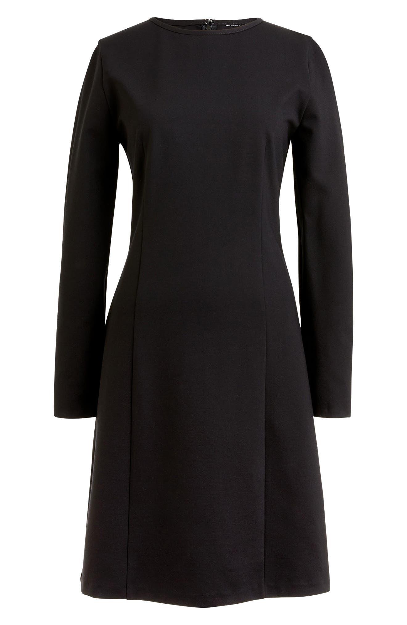 J.Crew Storm Ponte Knit Dress,                             Main thumbnail 1, color,                             Black