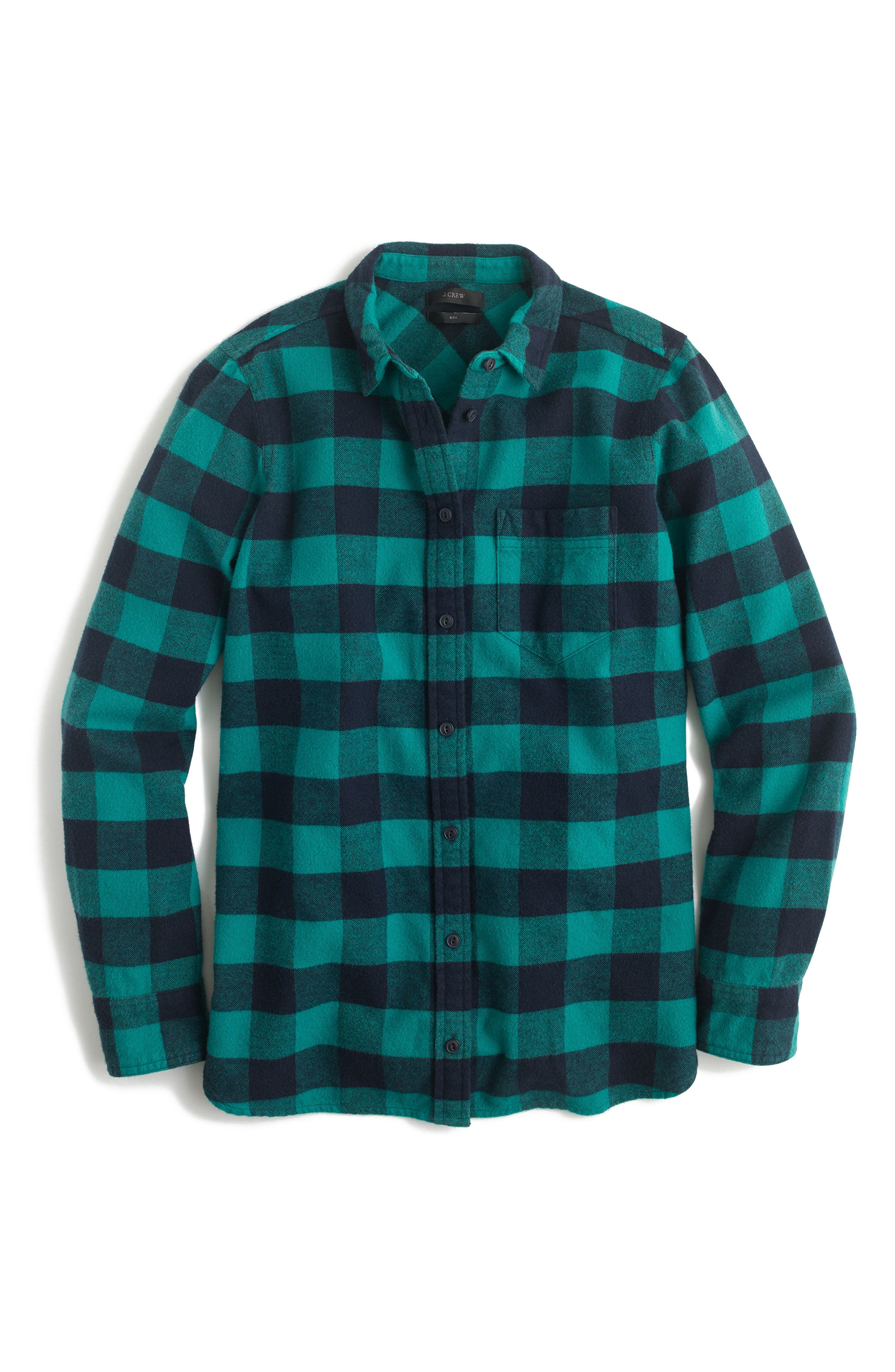 J.Crew Buffalo Check Cotton & Wool Boy Shirt (Regular & Petite)