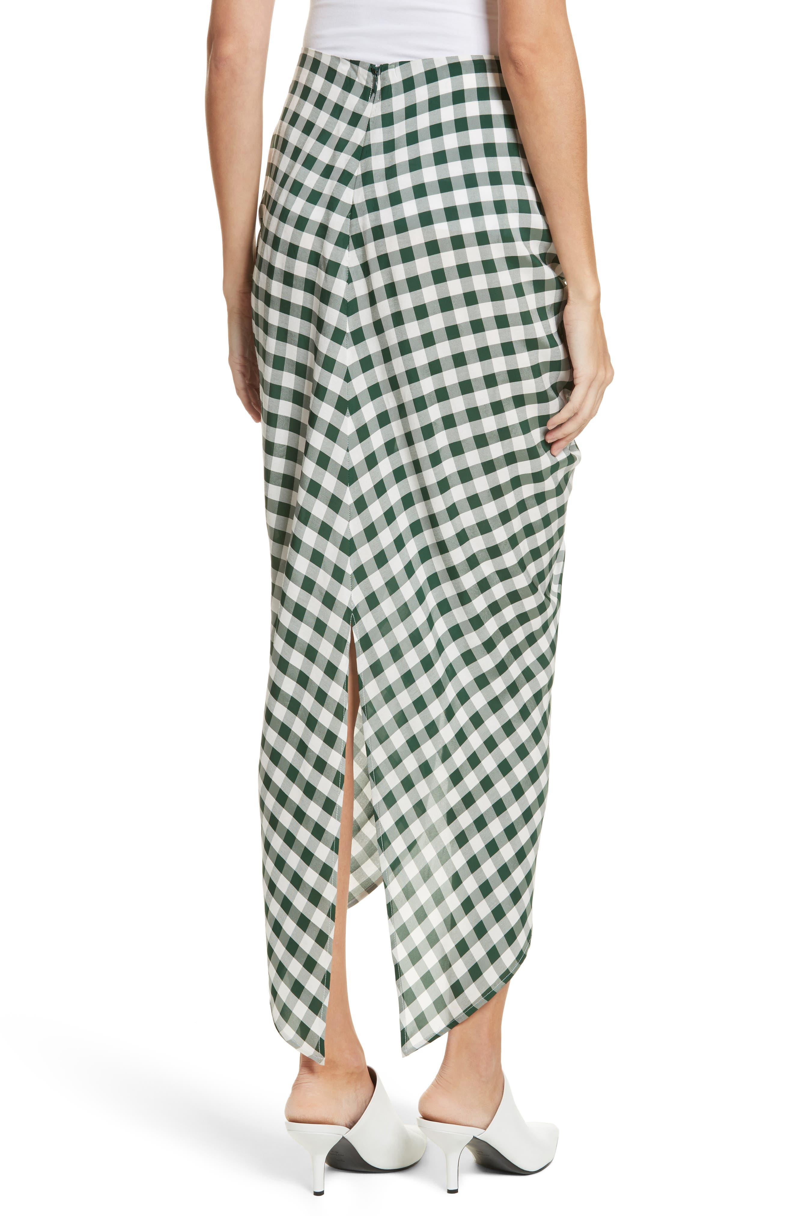 Roman Gingham Jacquard Skirt,                             Alternate thumbnail 2, color,                             Emerald