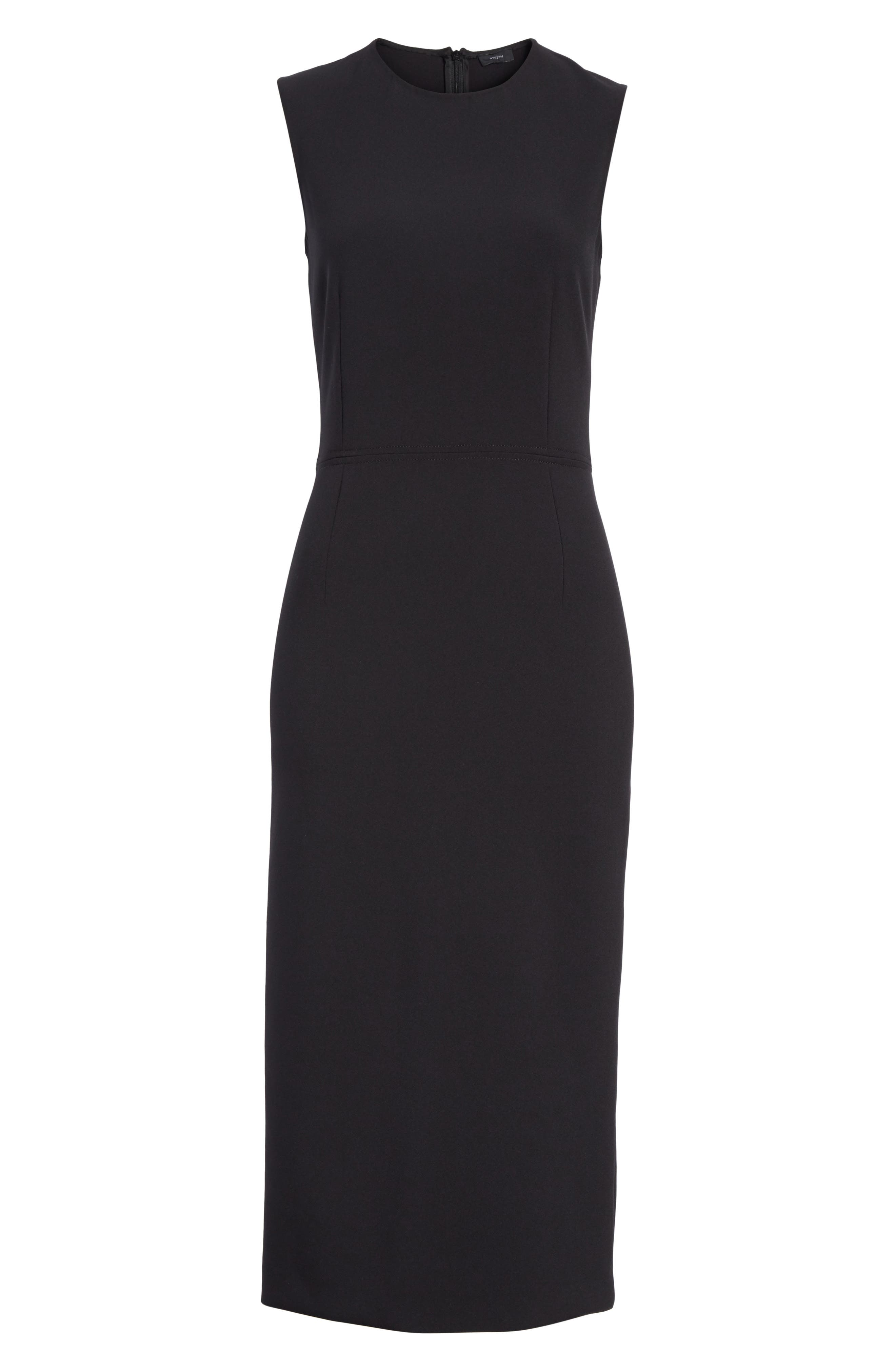 Sabine Stretch Cady Sheath Dress,                             Alternate thumbnail 6, color,                             Black