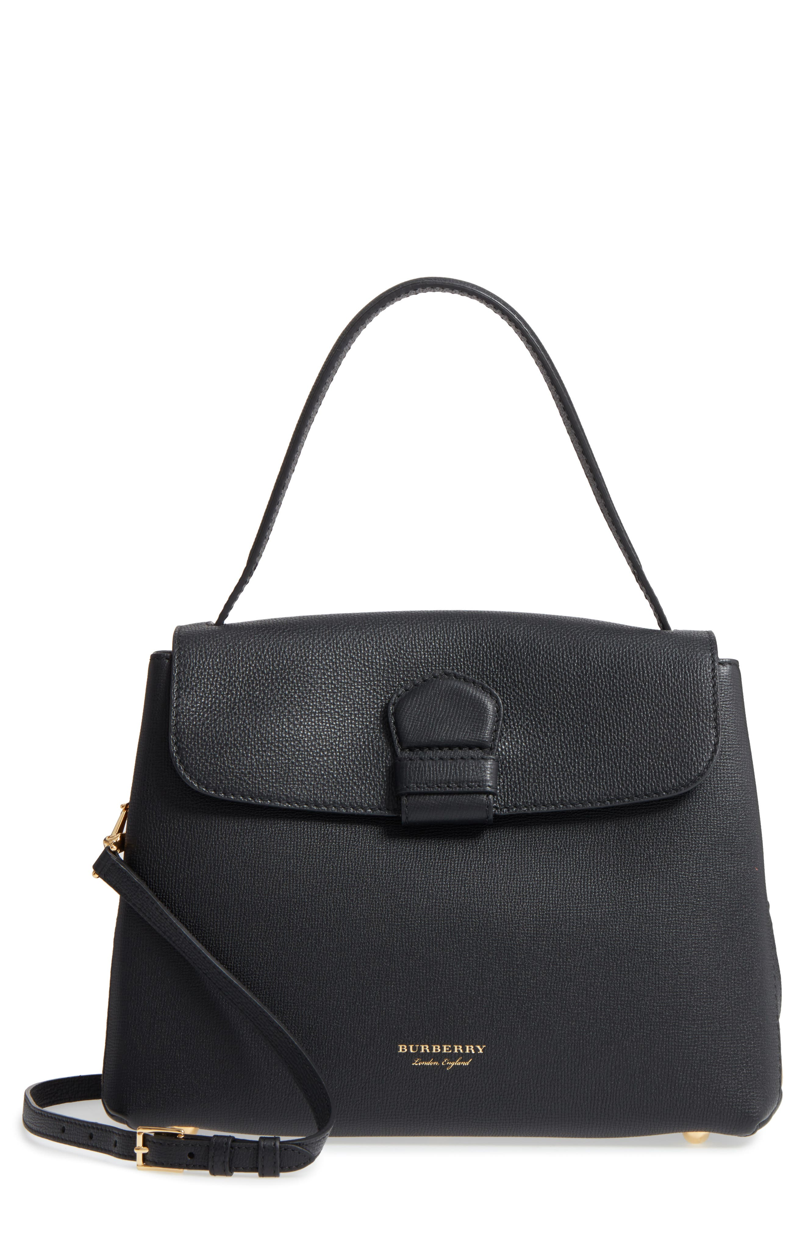 Medium Camberley Leather & House Check Top Handle Satchel,                         Main,                         color, Black