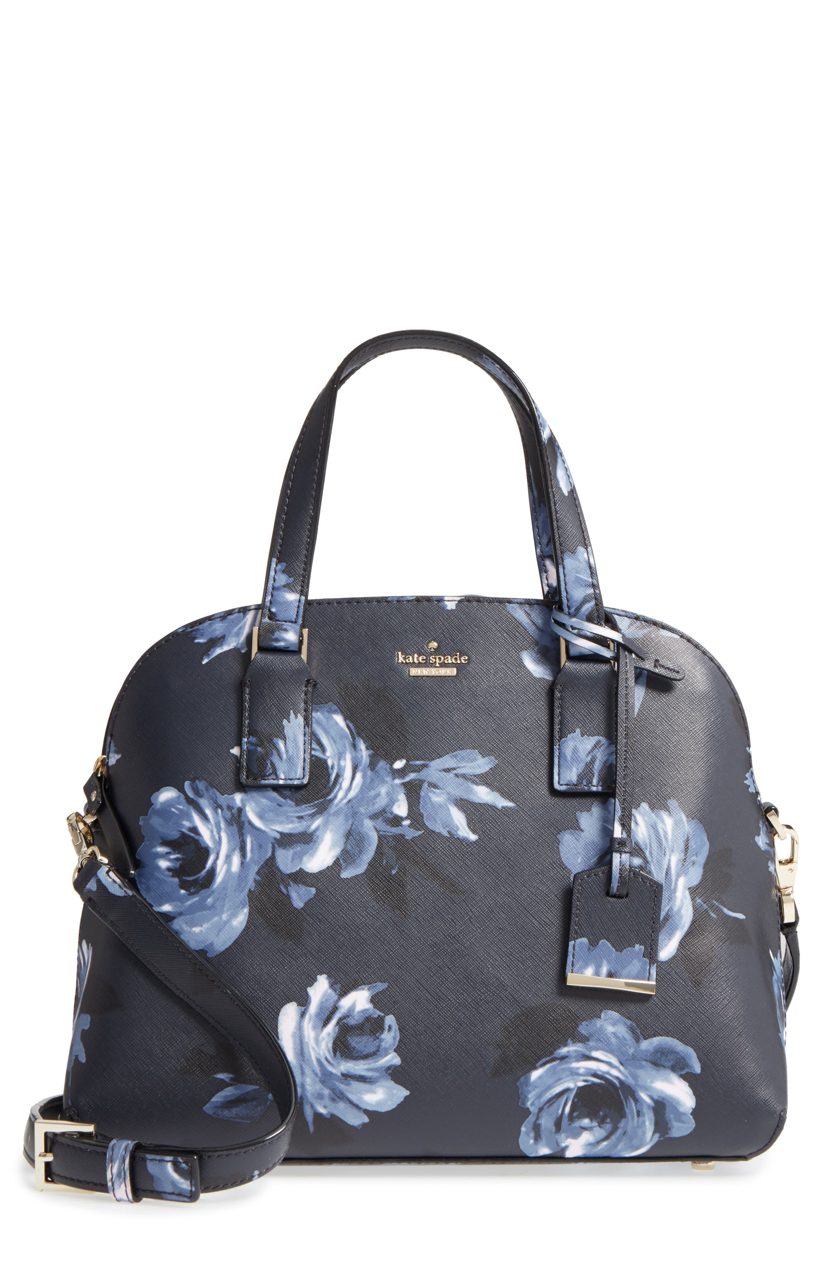cameron street lottie floral faux leather satchel,                         Main,                         color, Rich Navy Multi