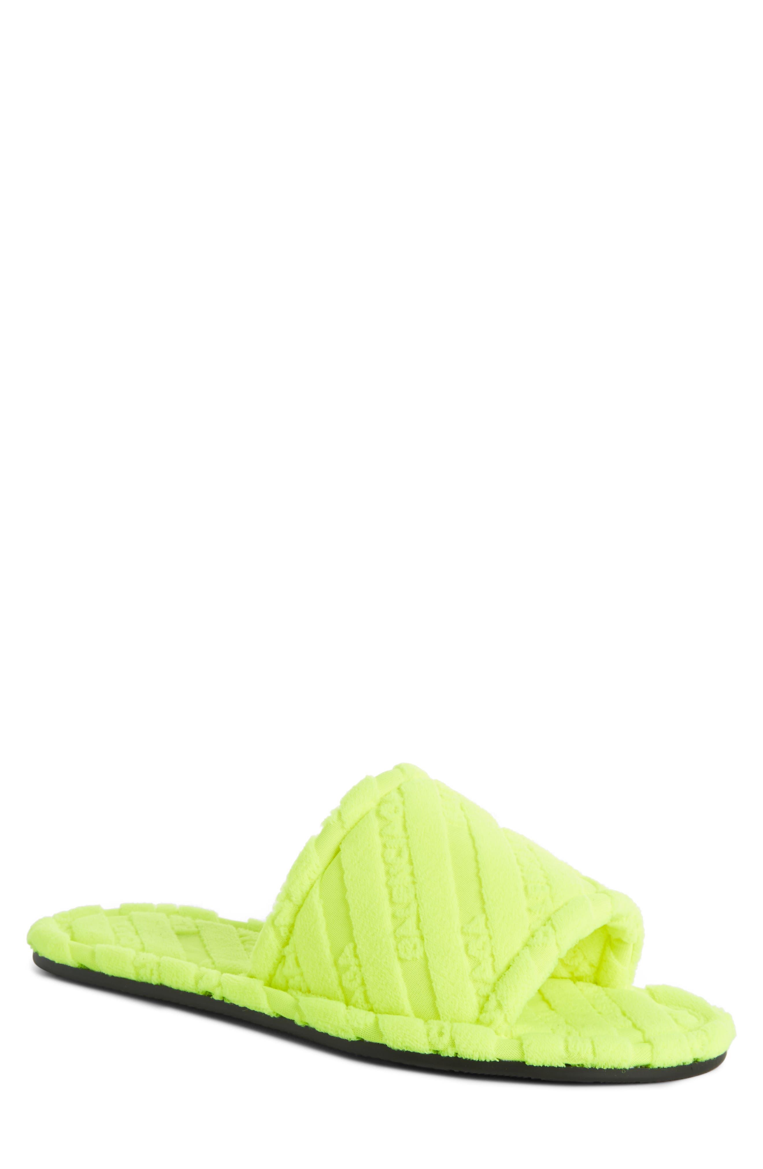 Logo Slide Sandal,                         Main,                         color, Jaune Fluo