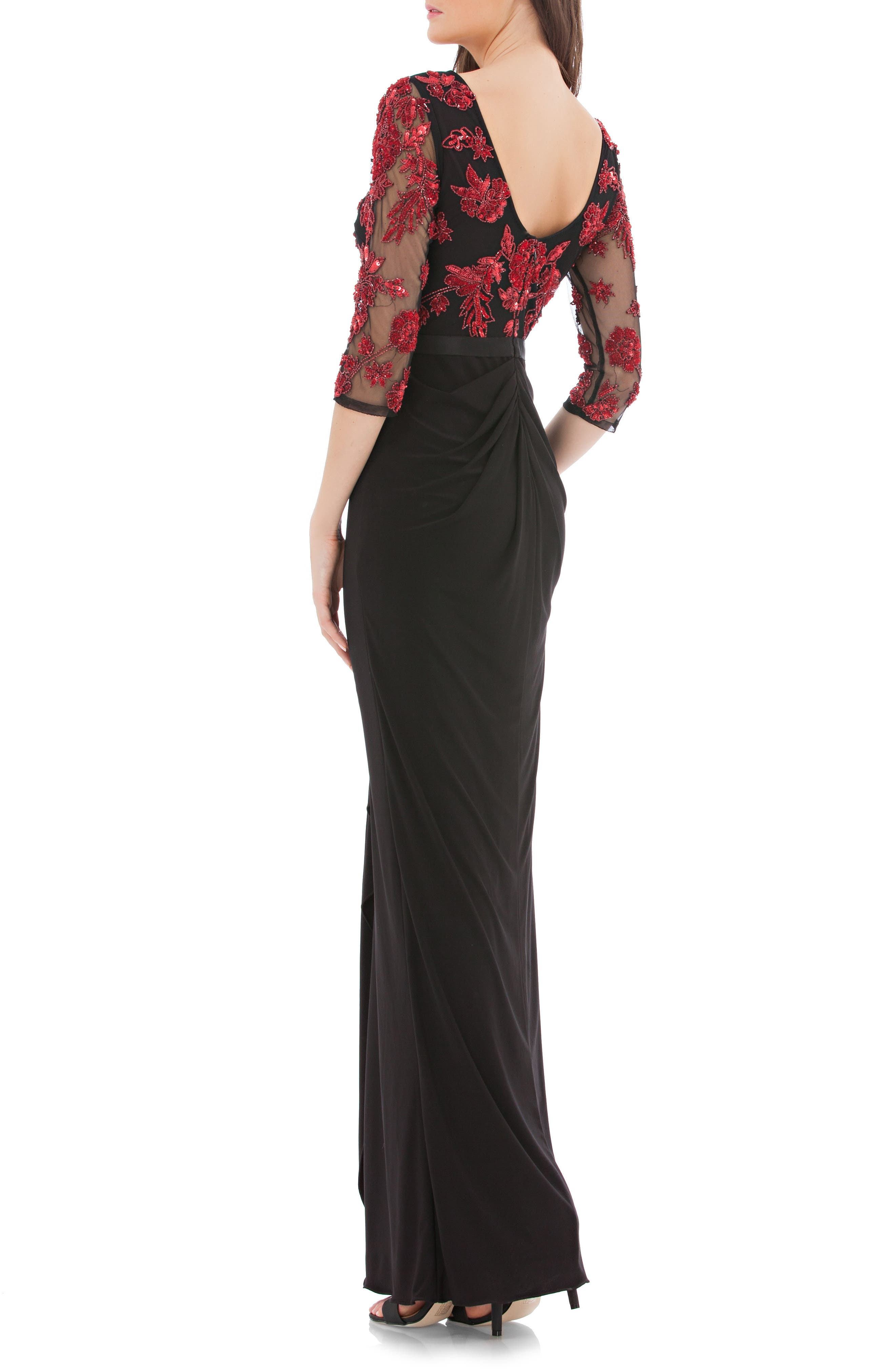 Embellished Bodice Gown,                             Alternate thumbnail 2, color,                             Red/ Black