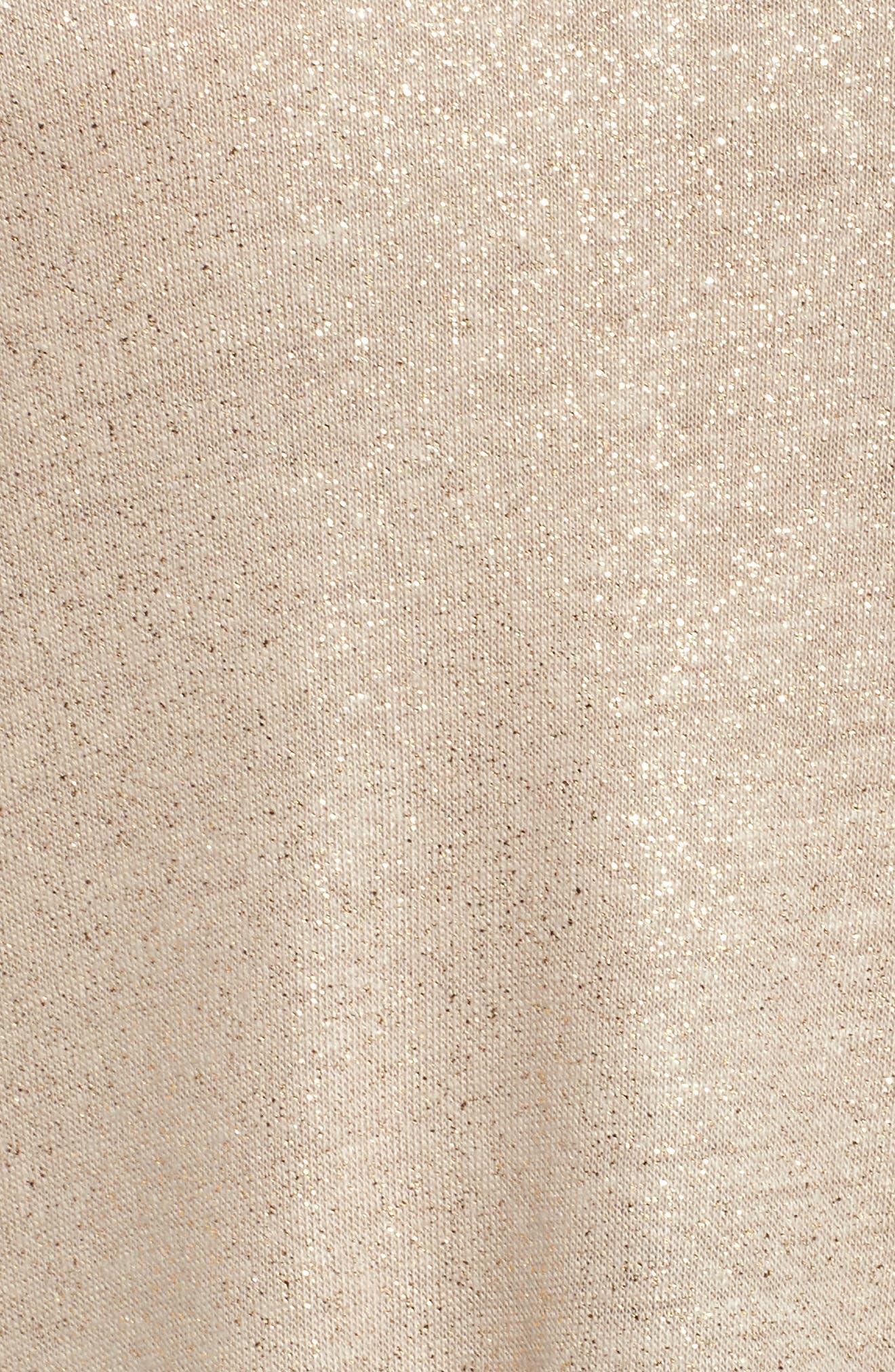 V-Neck Shimmer Tee,                             Alternate thumbnail 5, color,                             Tan Shimmer