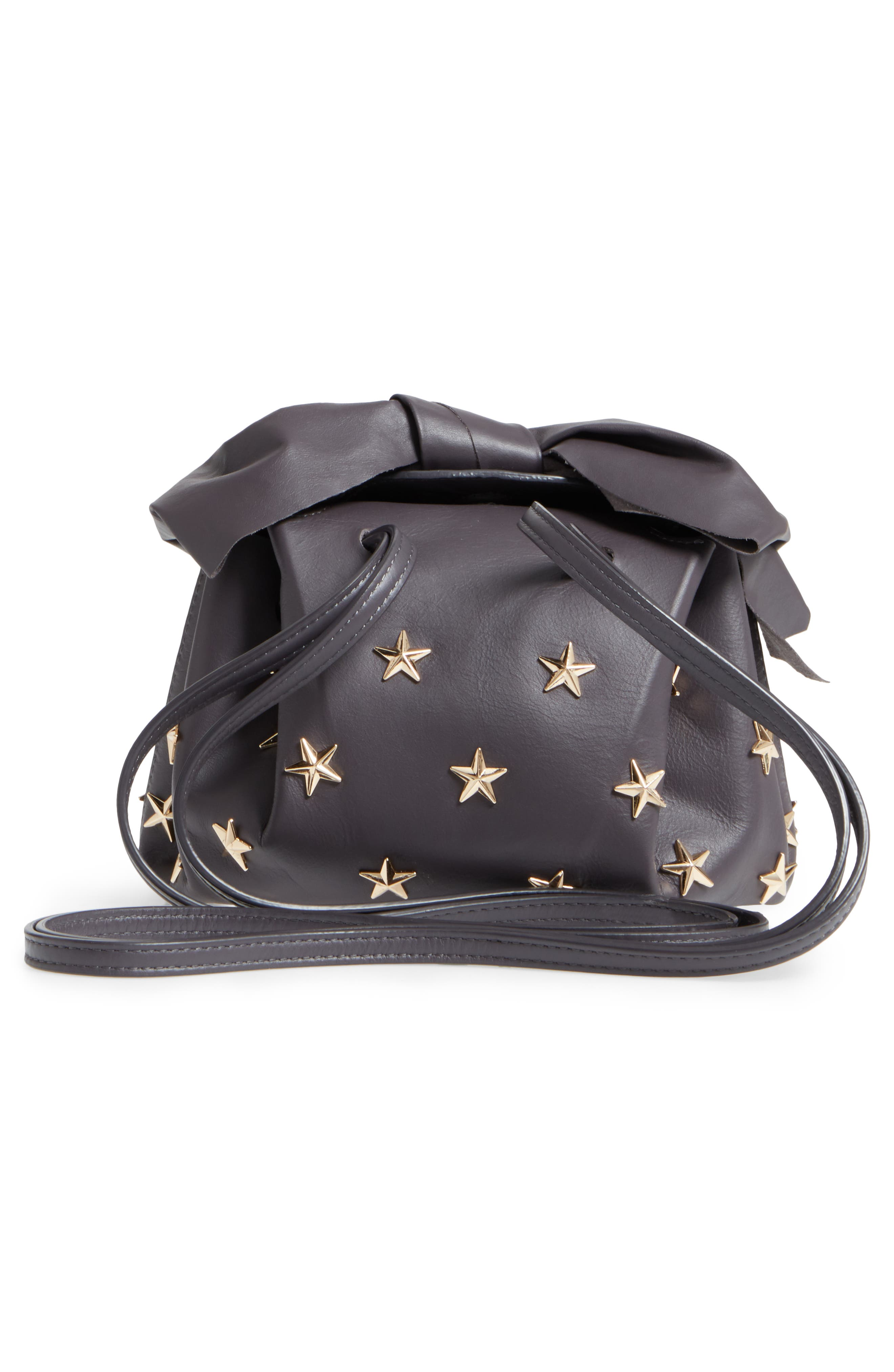 Soirée Star Stud Leather Crossbody Bag,                             Alternate thumbnail 3, color,                             Shadow