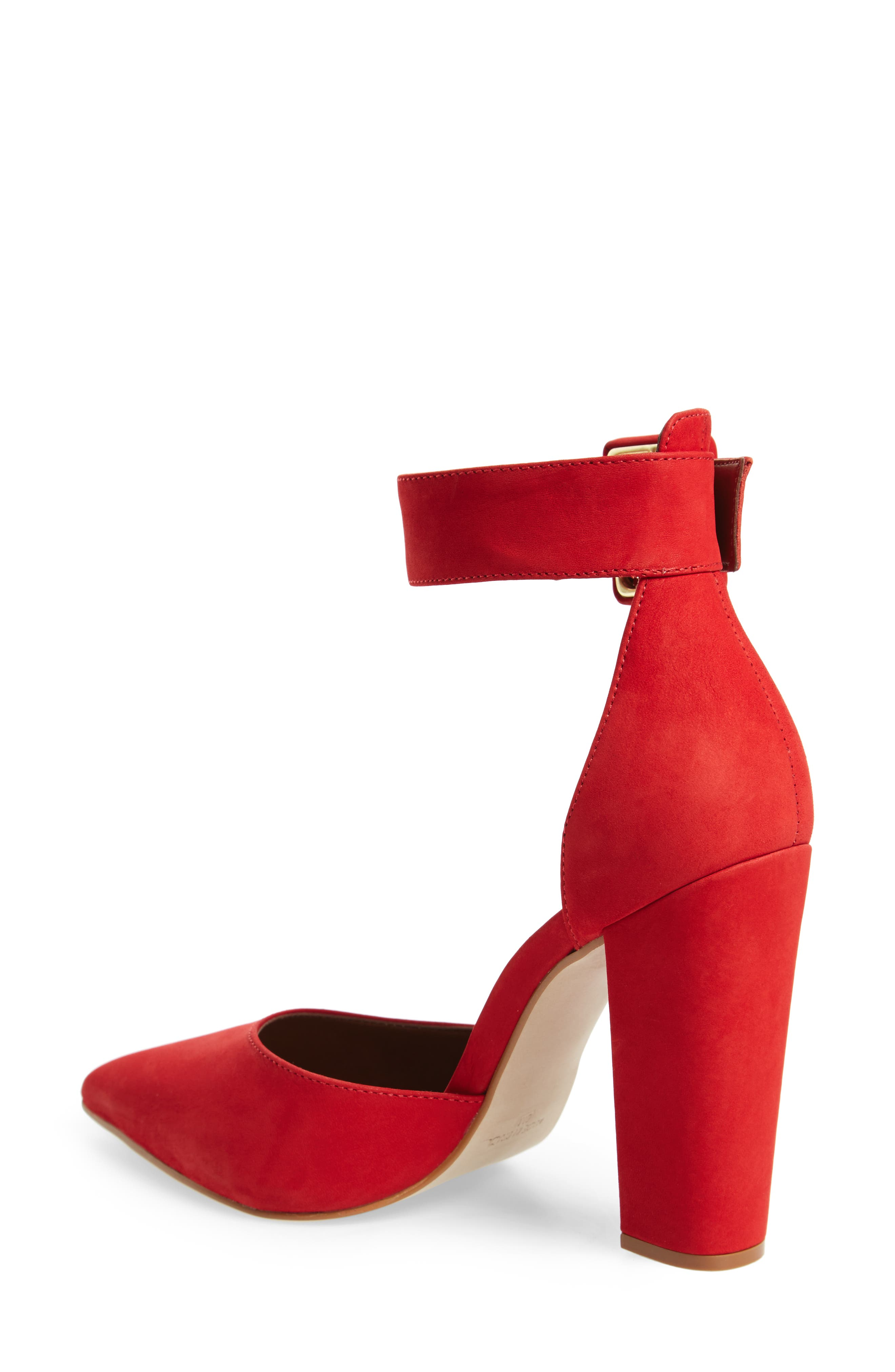 Posted Ankle Strap Pump,                             Alternate thumbnail 2, color,                             Red Nubuck Leather