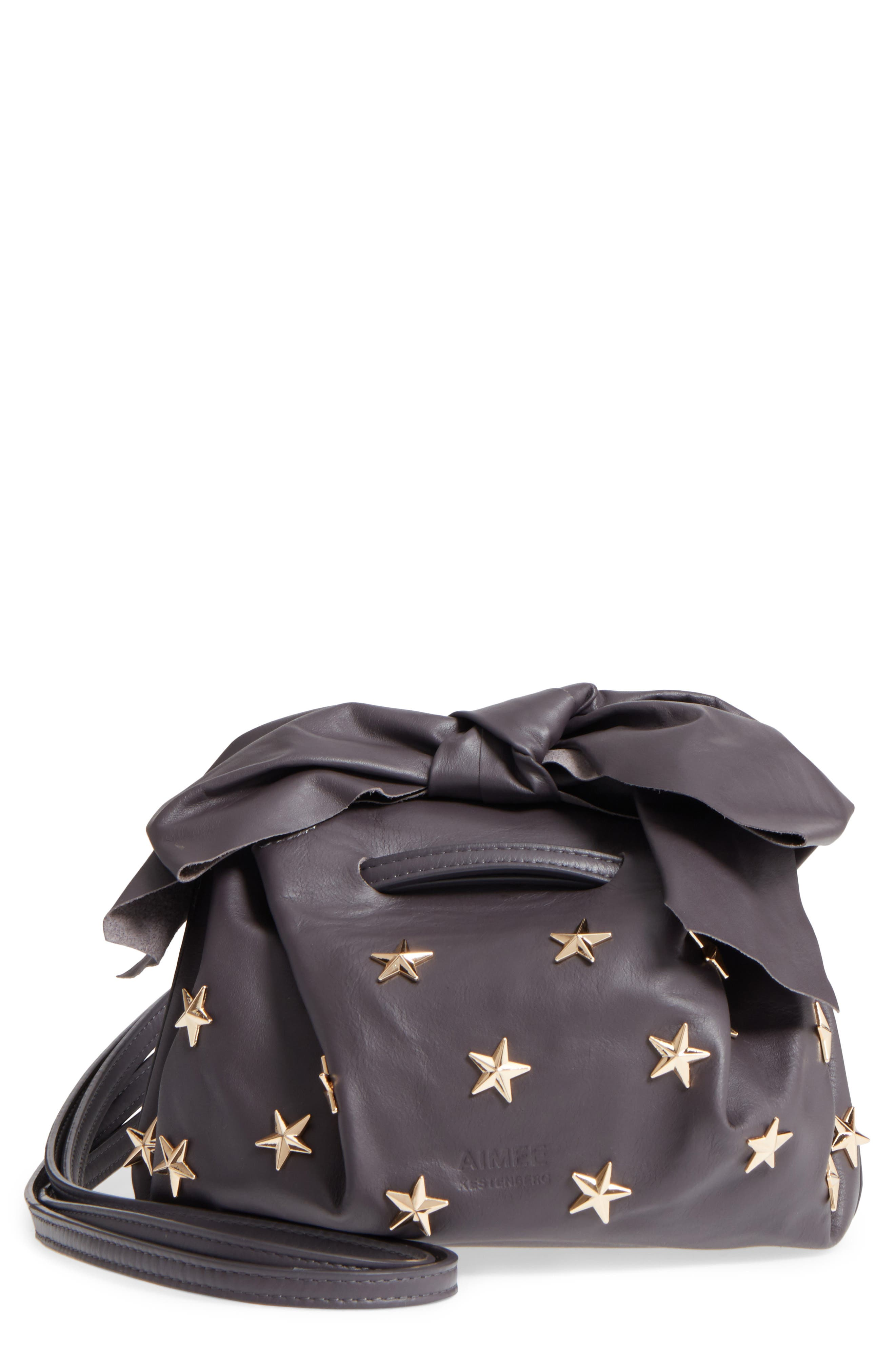 Soirée Star Stud Leather Crossbody Bag,                         Main,                         color, Shadow