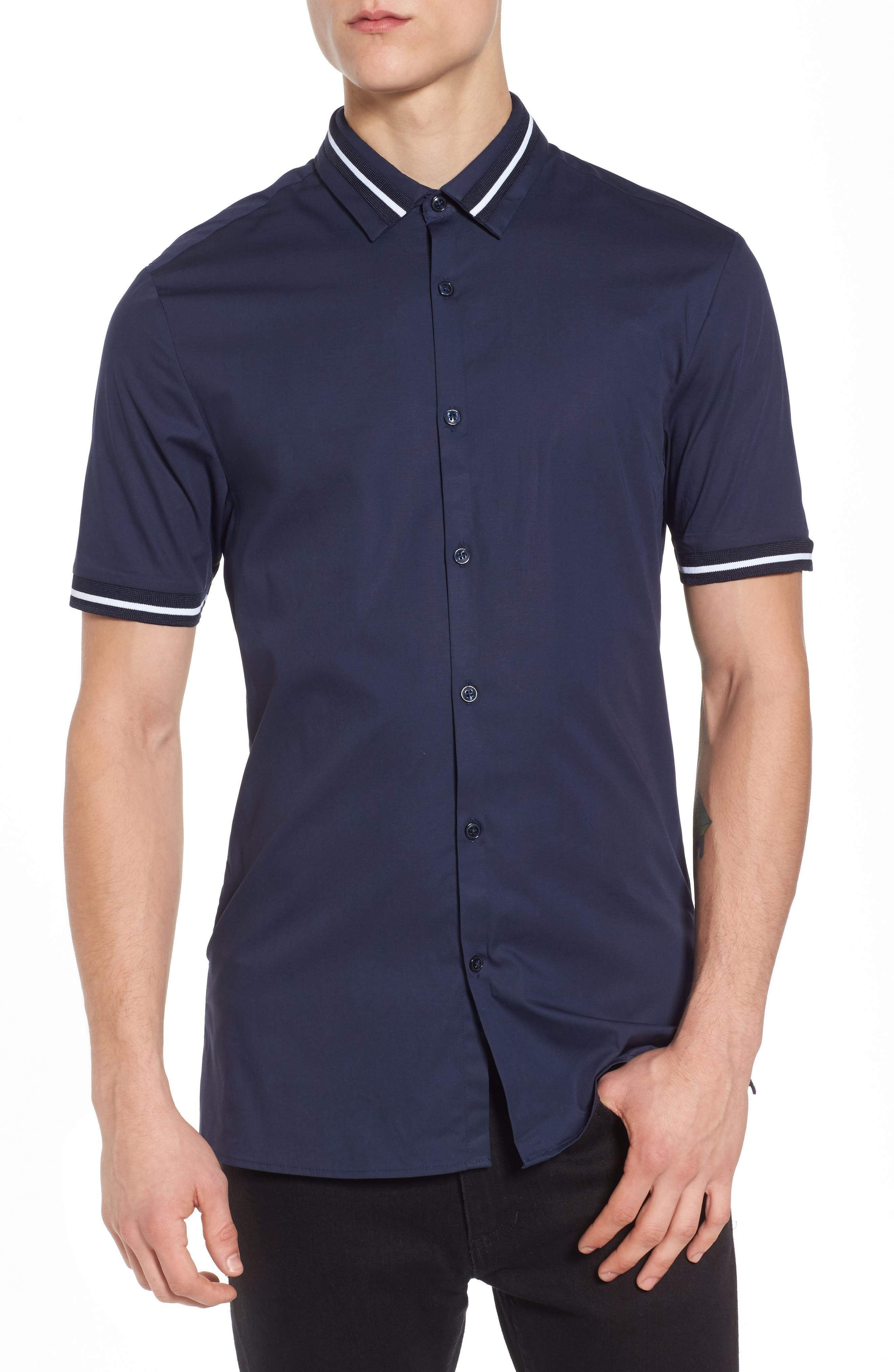 Main Image - Topman Muscle Fit Stripe Tipped Shirt