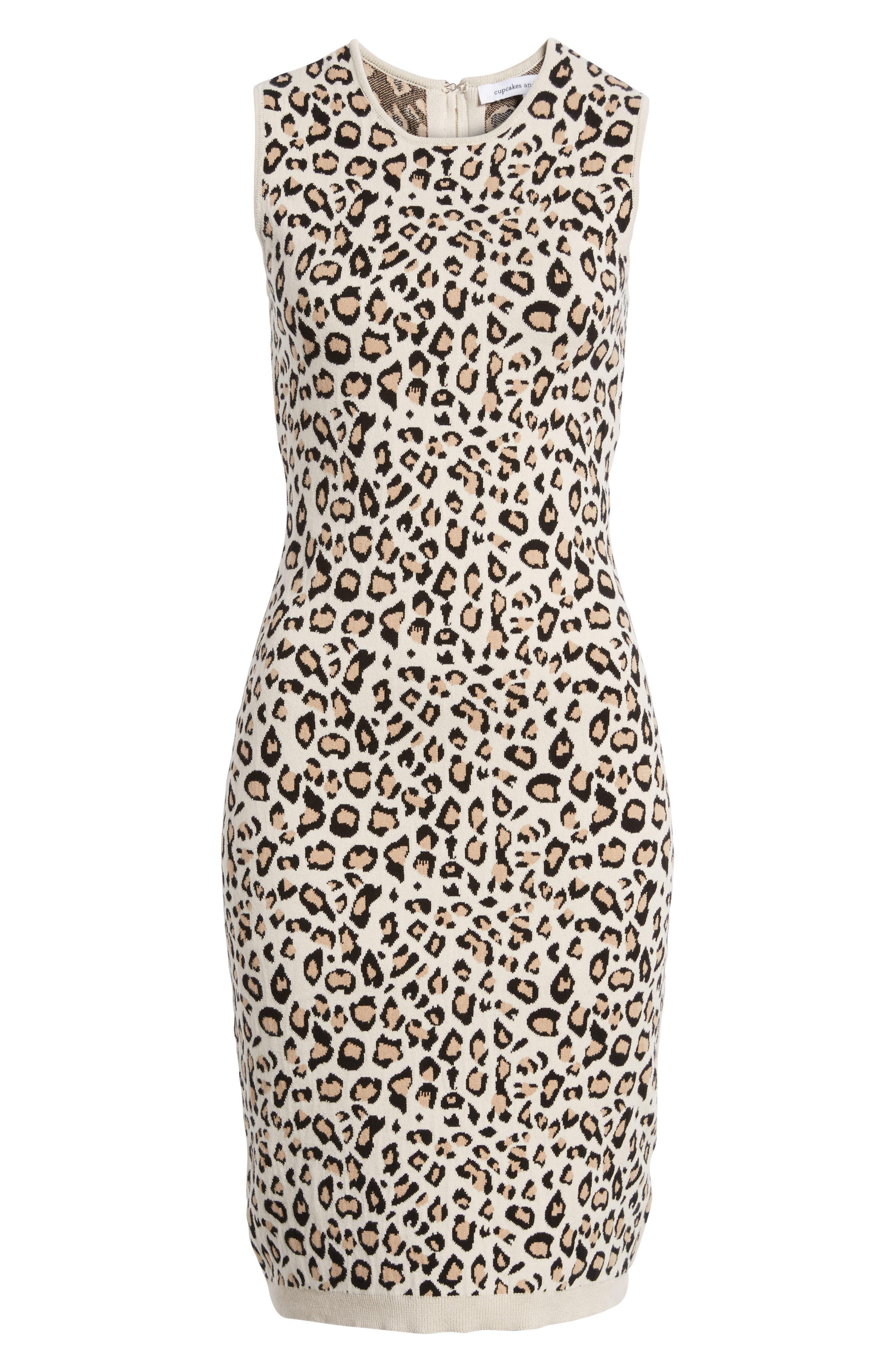 Sutter Body-Con Dress,                             Alternate thumbnail 6, color,                             Leopard