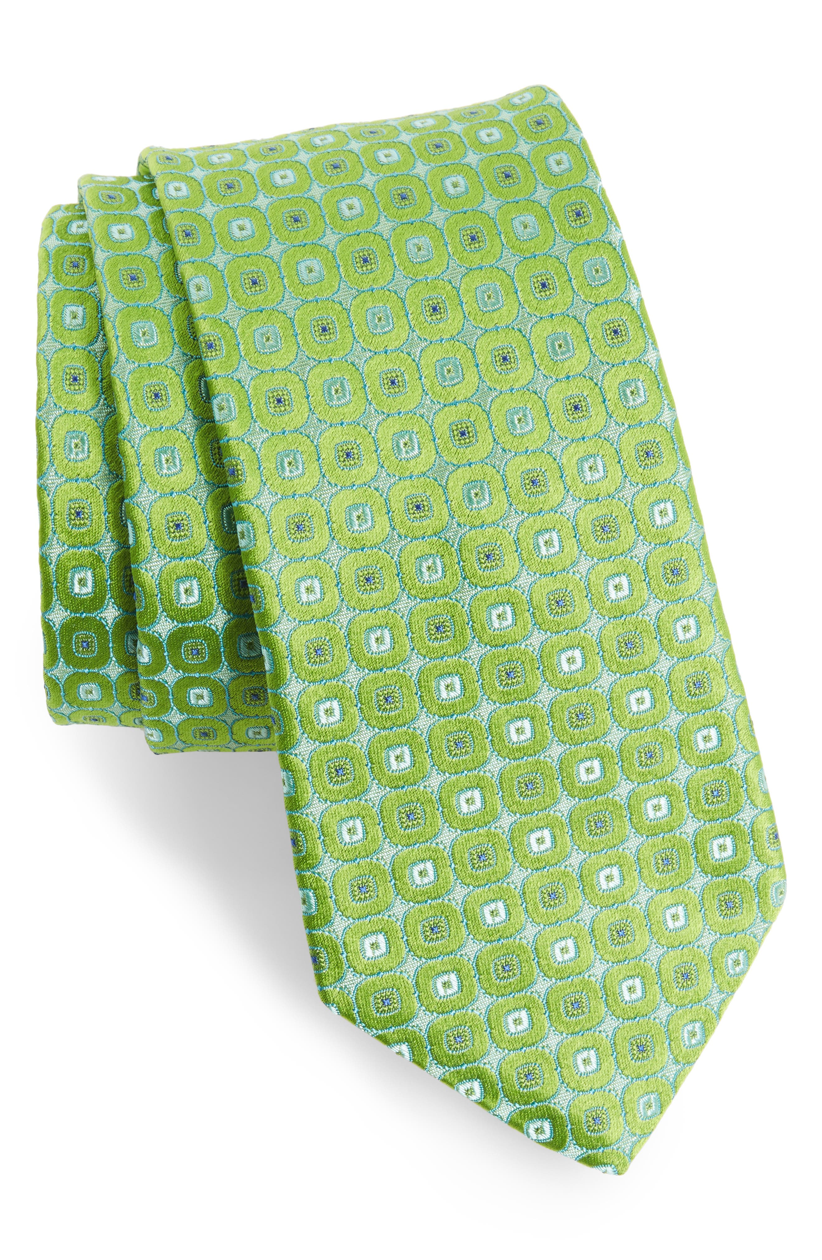 Medallion Silk Tie,                         Main,                         color, Green