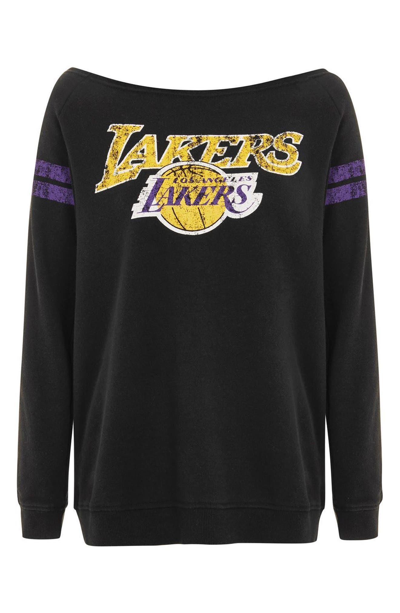 x UNK Lakers Convertible Sweatshirt,                             Alternate thumbnail 4, color,                             Black Multi