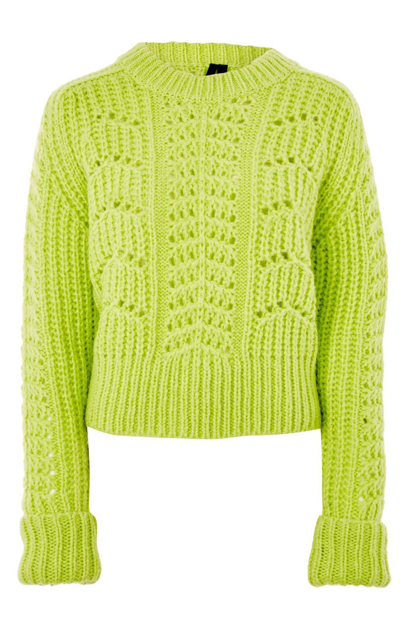 Cable Knit Sweater,                         Main,                         color, Bright Green