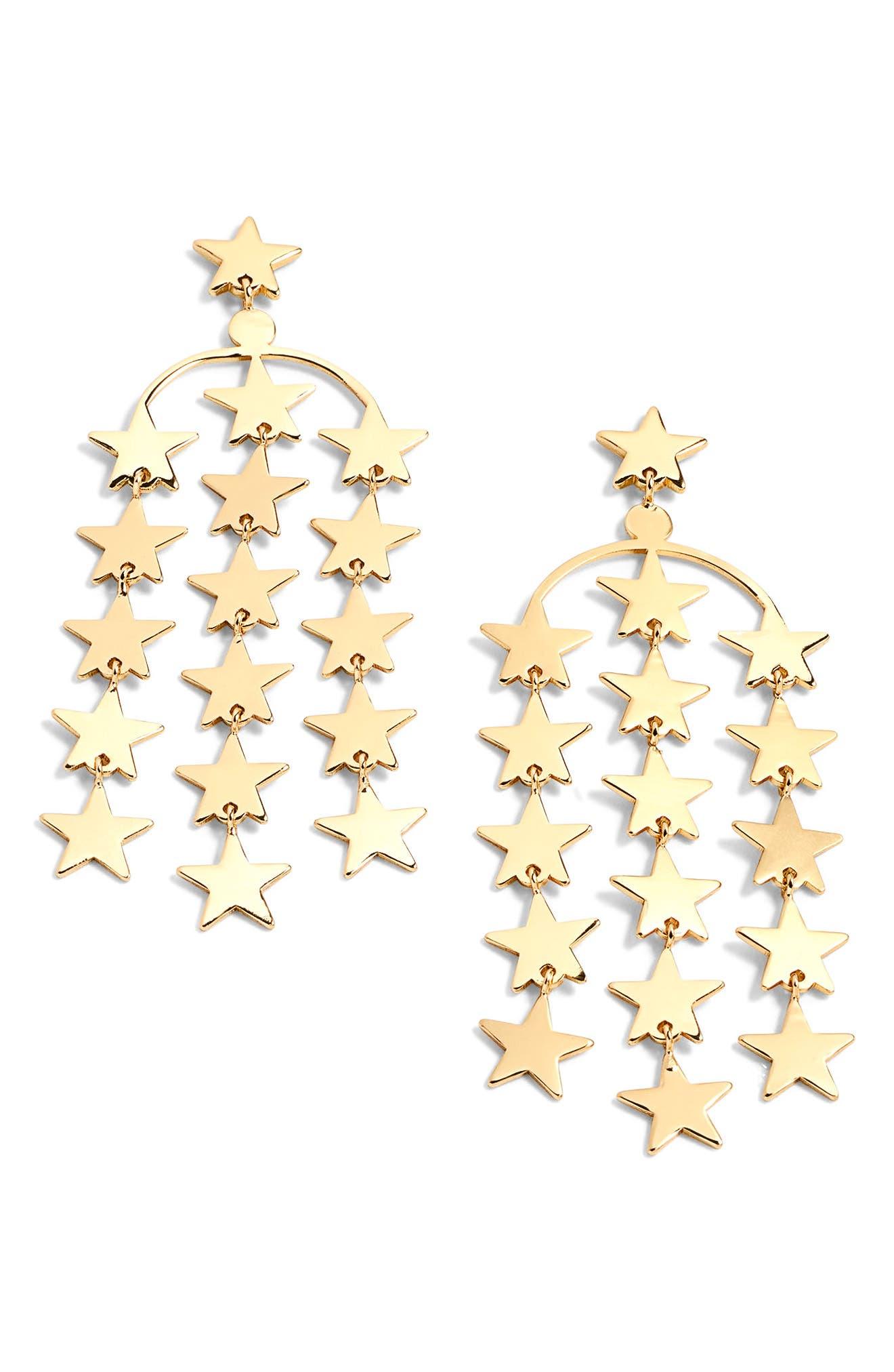 Falling Star Earrings,                         Main,                         color, Gold