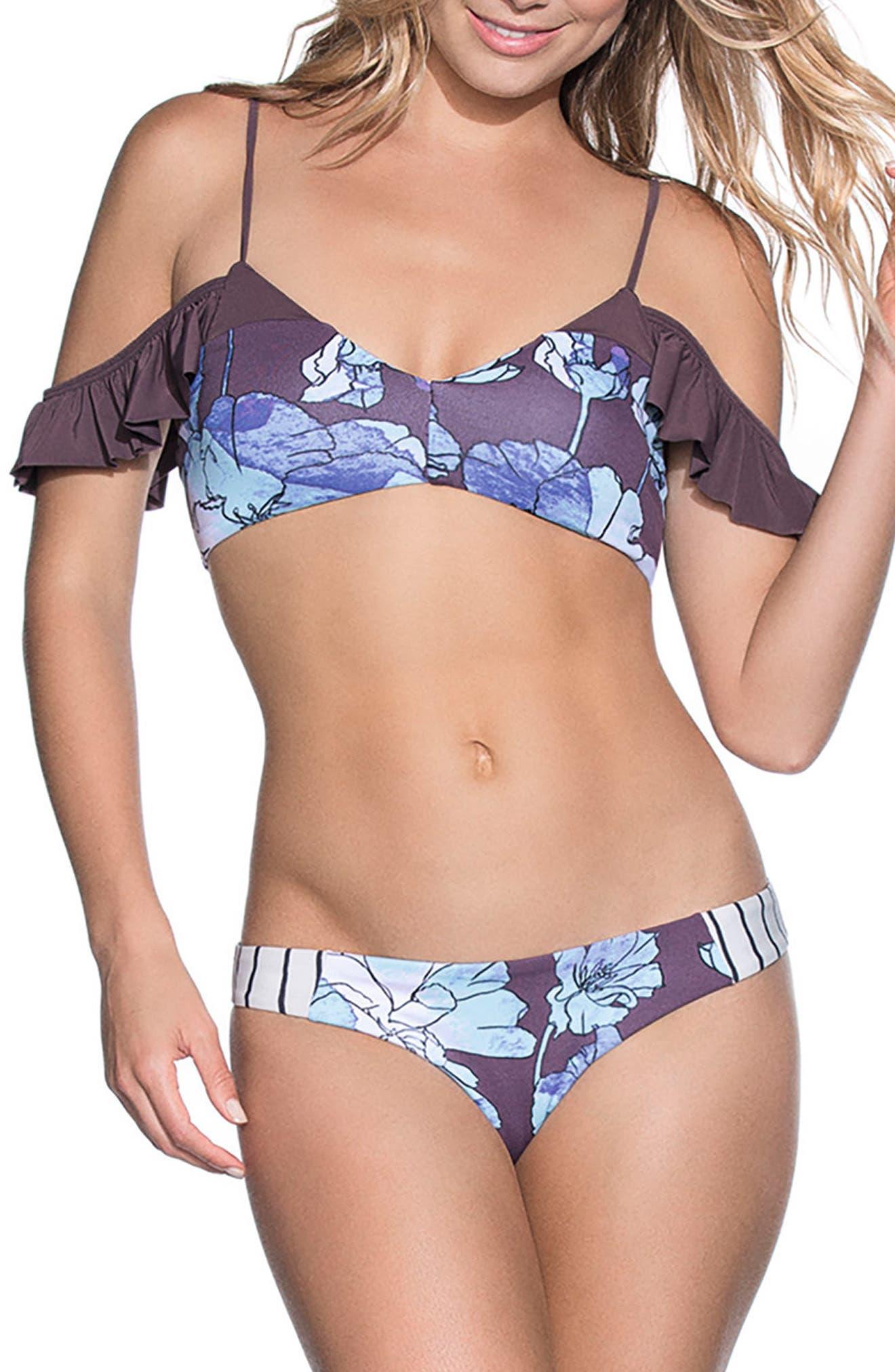 Sierra Nevada Off the Shoulder Reversible Bikini Top,                             Alternate thumbnail 3, color,                             Purple Multi