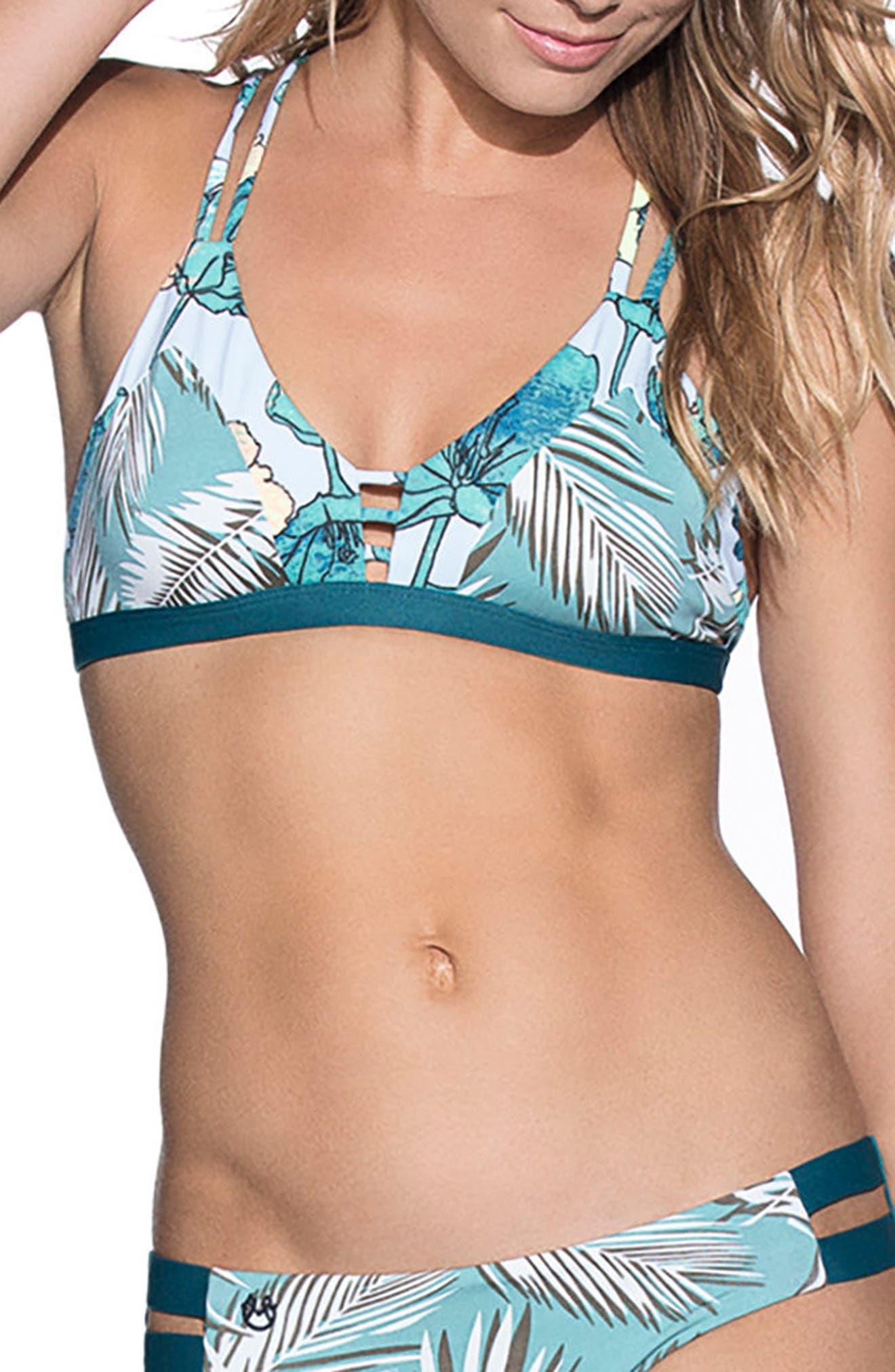 Guadua Bridge Bikini Top,                             Main thumbnail 1, color,                             Teal Multi