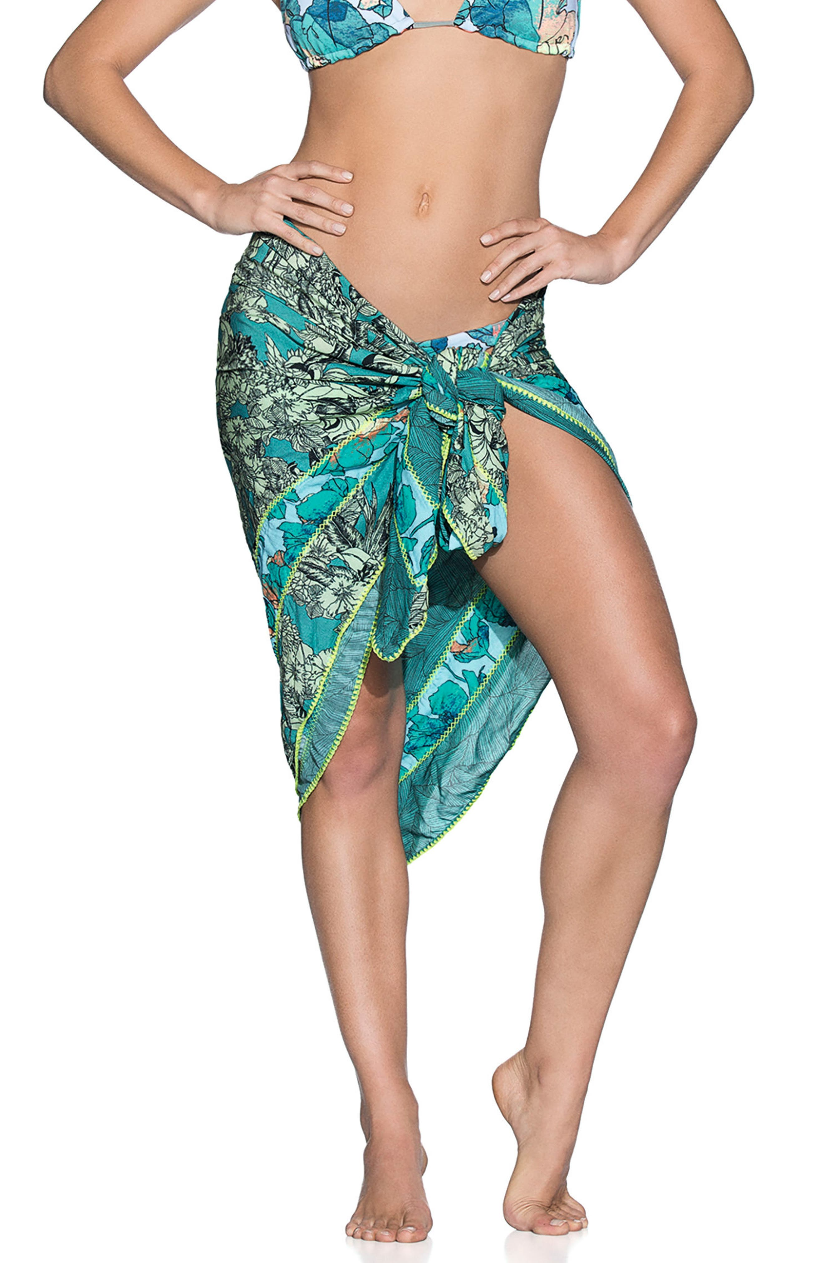 Mystic Isle Cover-Up Wrap,                         Main,                         color, Teal Multi