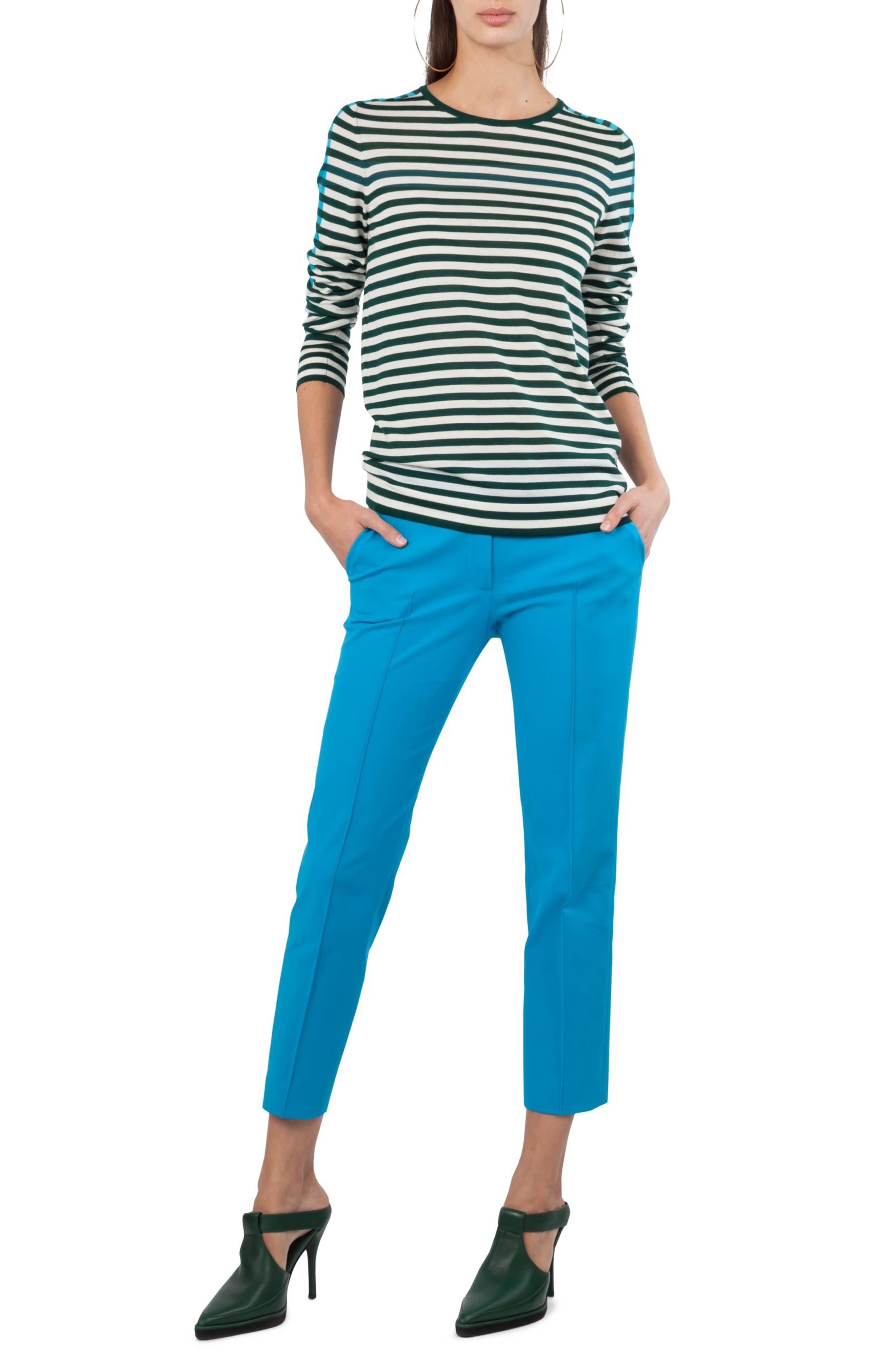 Frankie Stretch Cotton Pants,                             Alternate thumbnail 5, color,                             Turquoise
