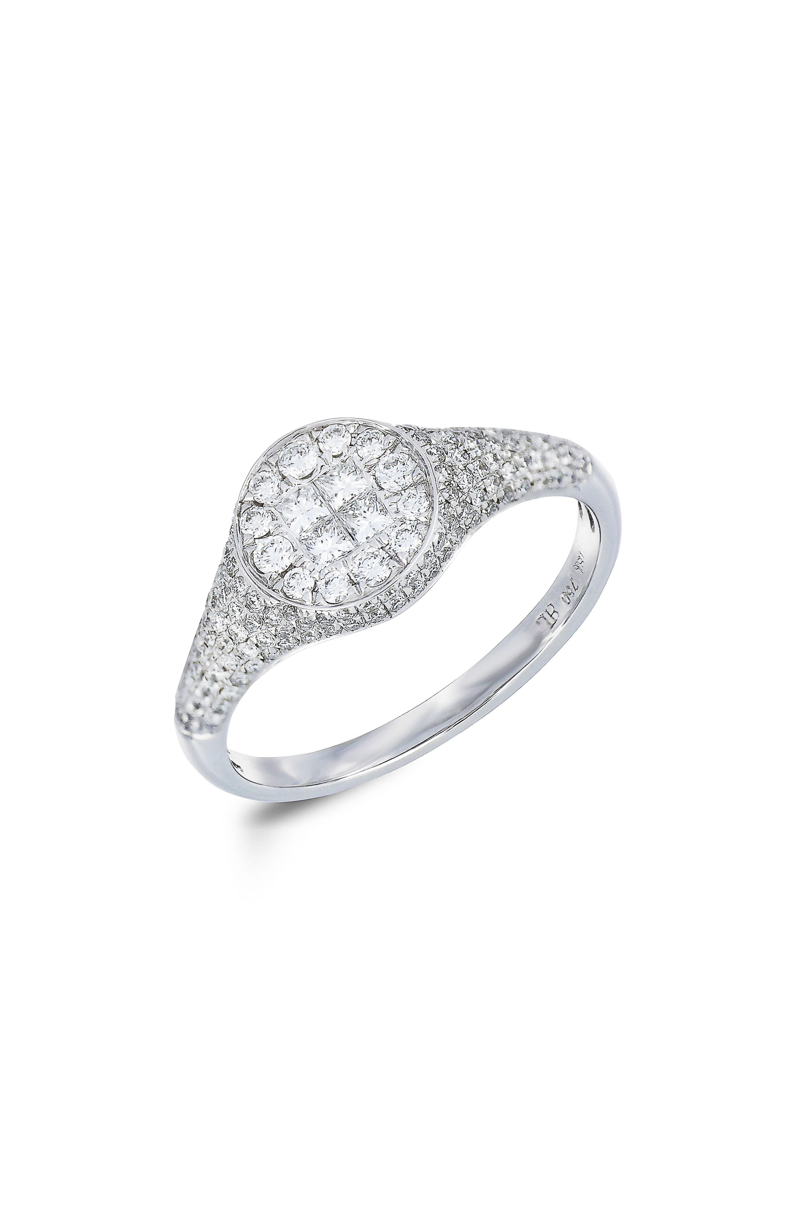 Diamond Signet Ring,                         Main,                         color, White Gold