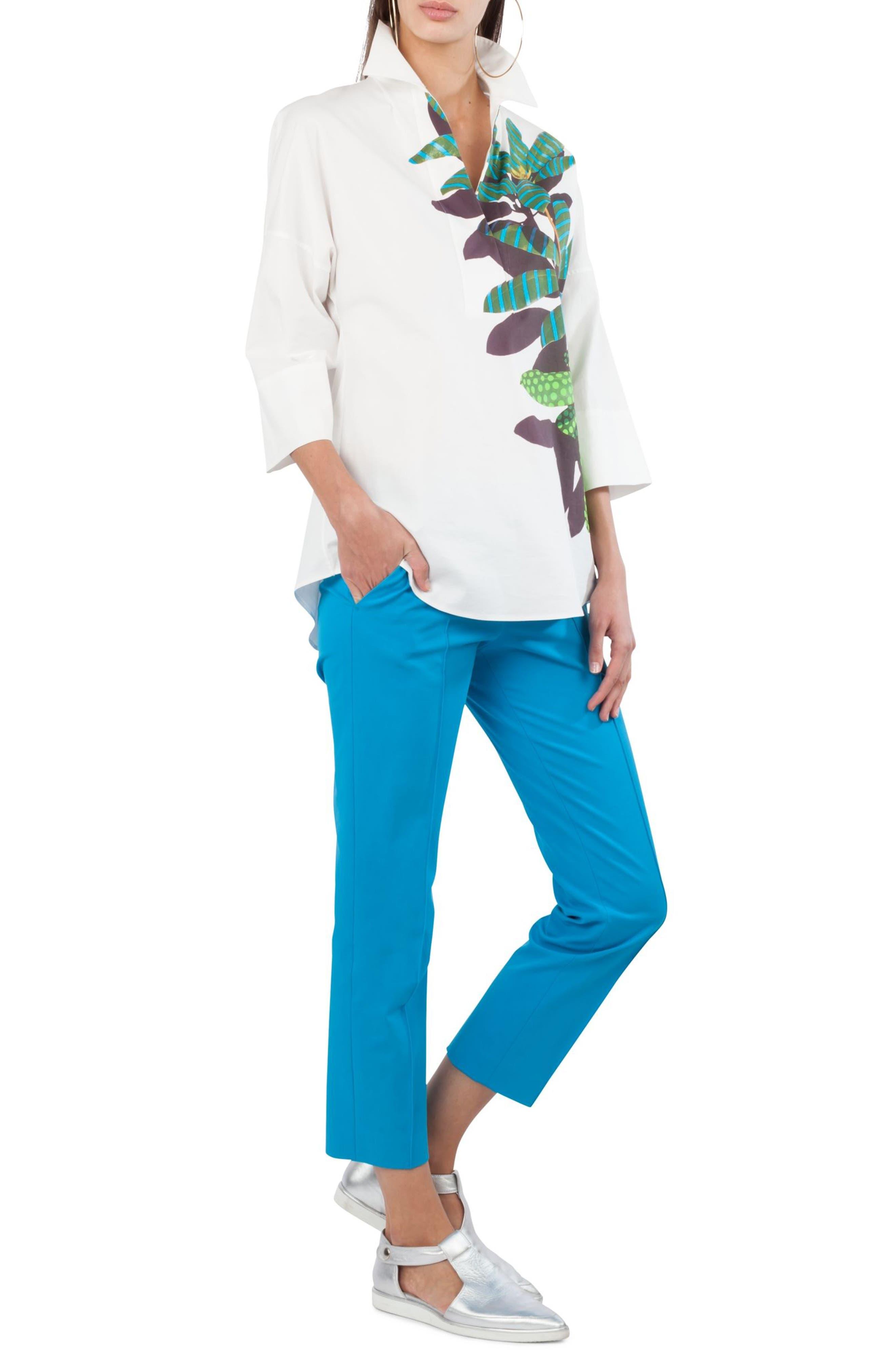 Frankie Stretch Cotton Pants,                             Alternate thumbnail 4, color,                             Turquoise