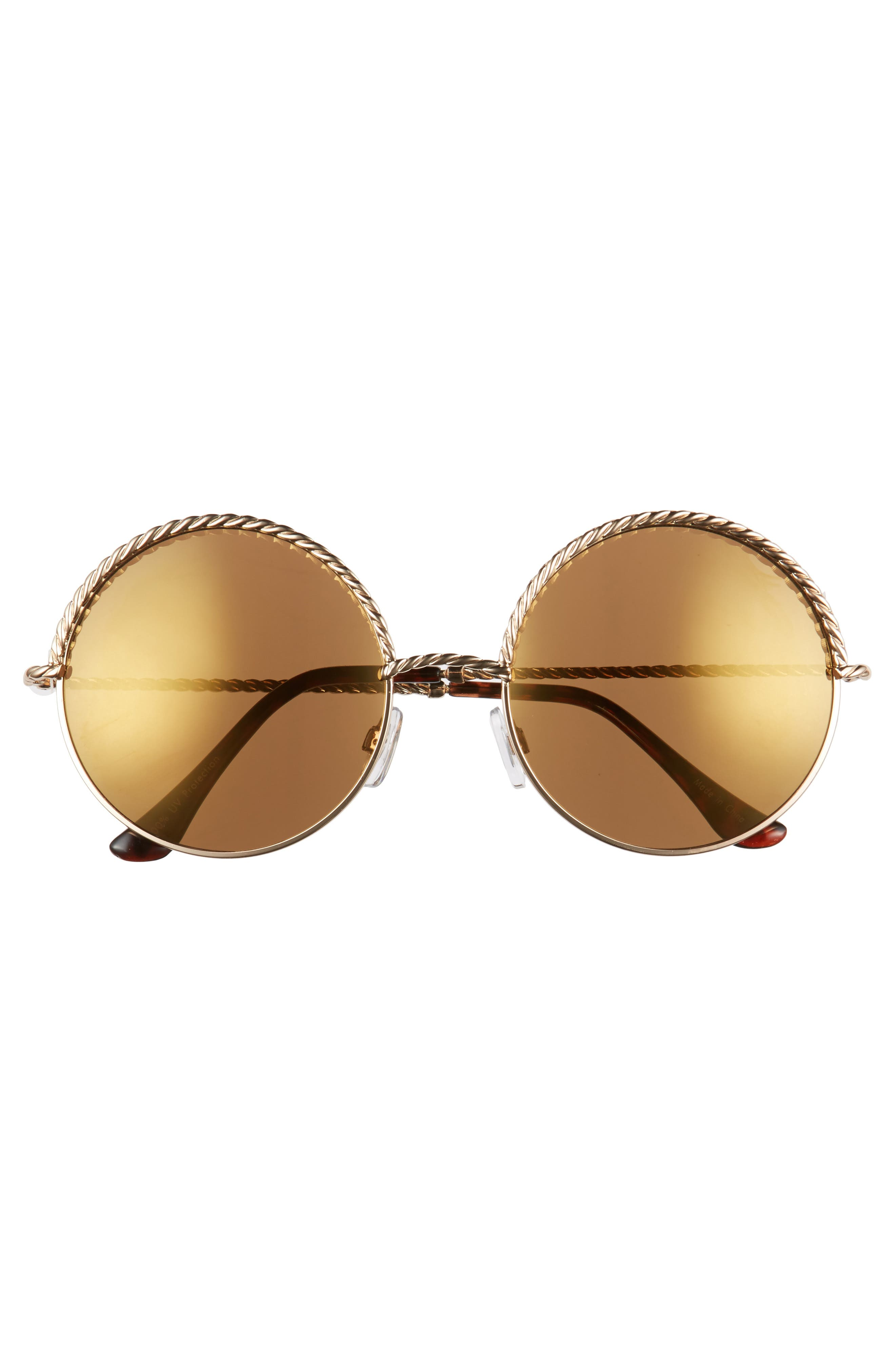 58mm Chain Trim Round Sunglasses,                             Alternate thumbnail 2, color,                             Gold/ Brown
