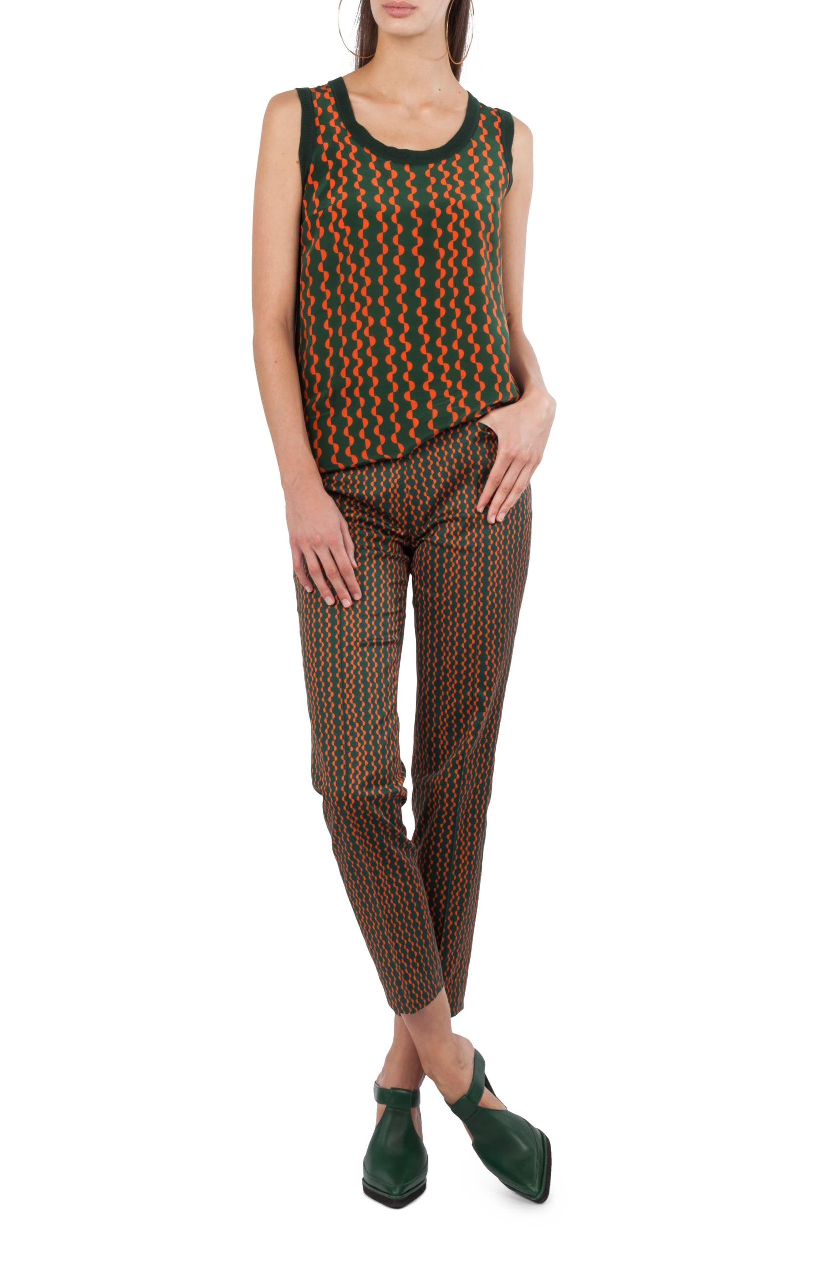 Franca Print Pants,                         Main,                         color, Palm Leaf / Papaya