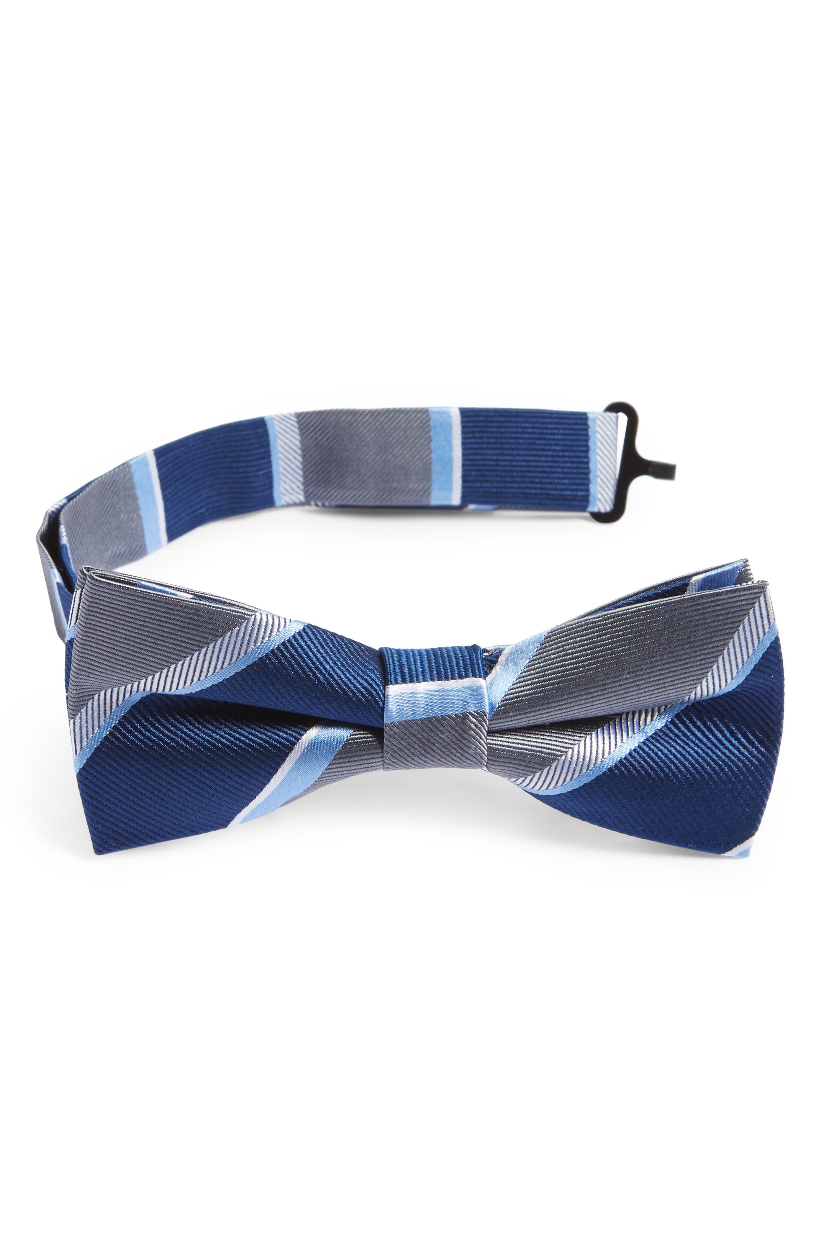 Alternate Image 1 Selected - Nordstrom Stripe Silk Bow Tie (Boys)