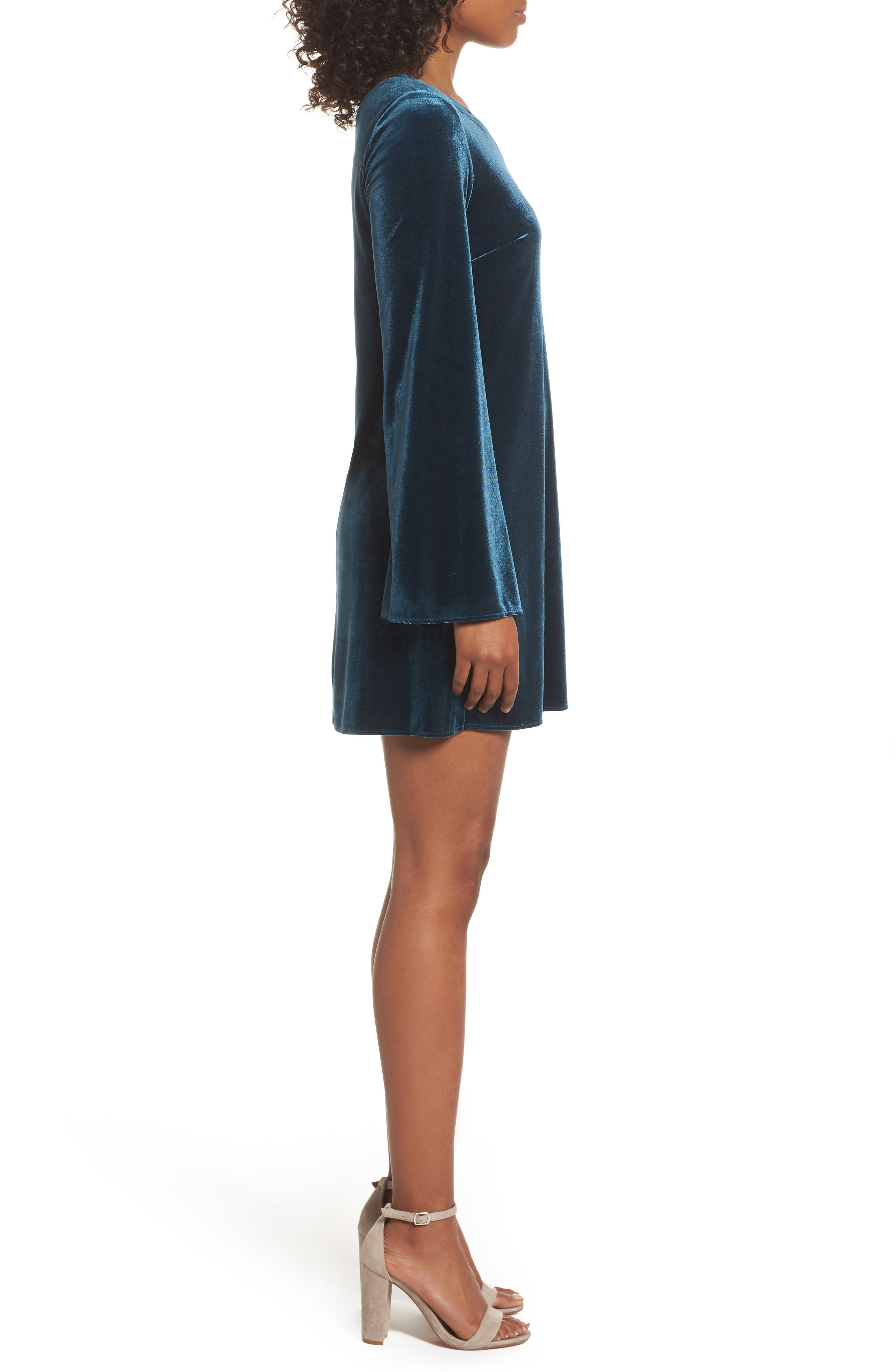 Aurore One-Shoulder Velvet Dress,                             Alternate thumbnail 3, color,                             Deep Teal
