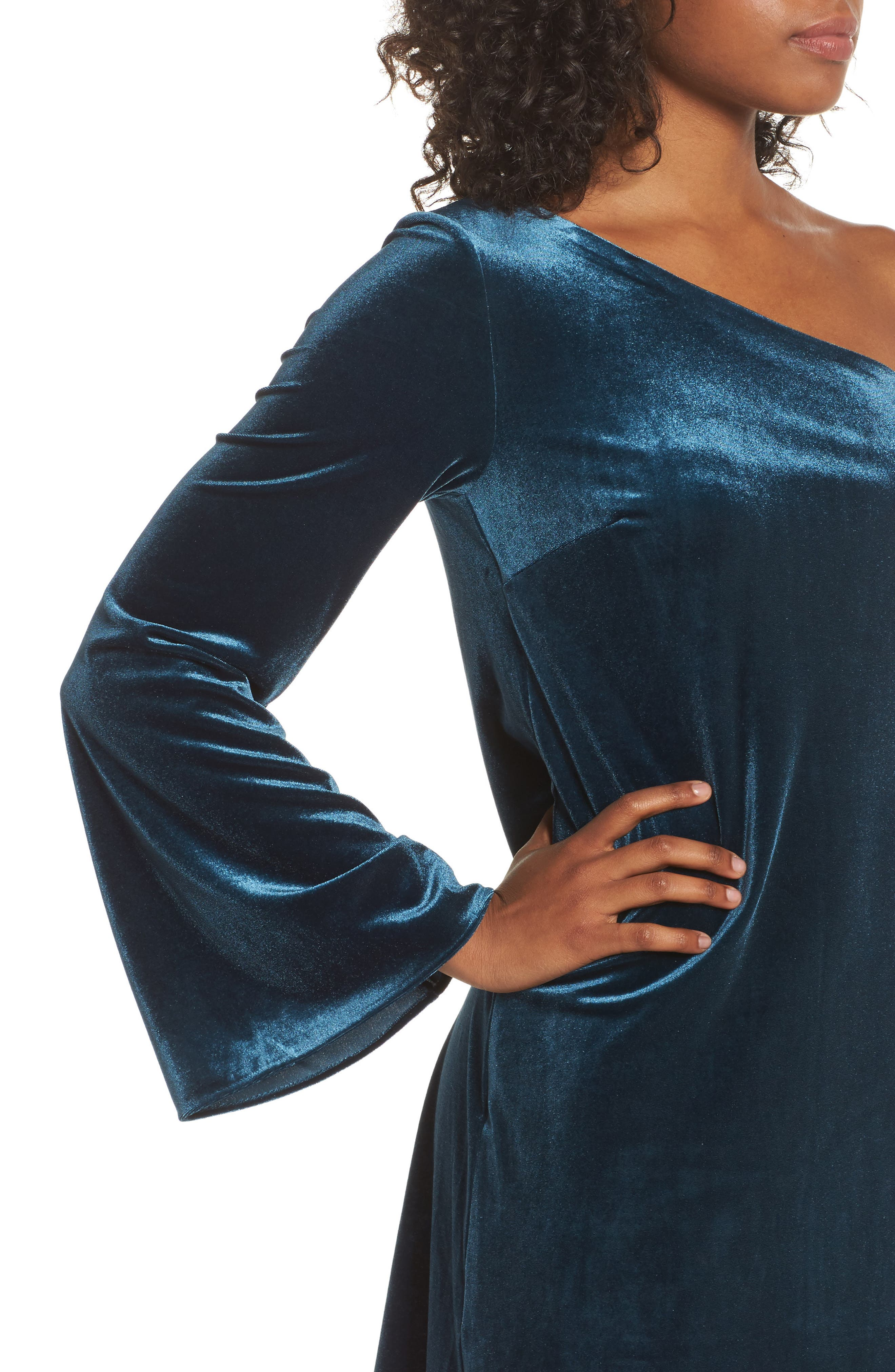 Aurore One-Shoulder Velvet Dress,                             Alternate thumbnail 4, color,                             Deep Teal