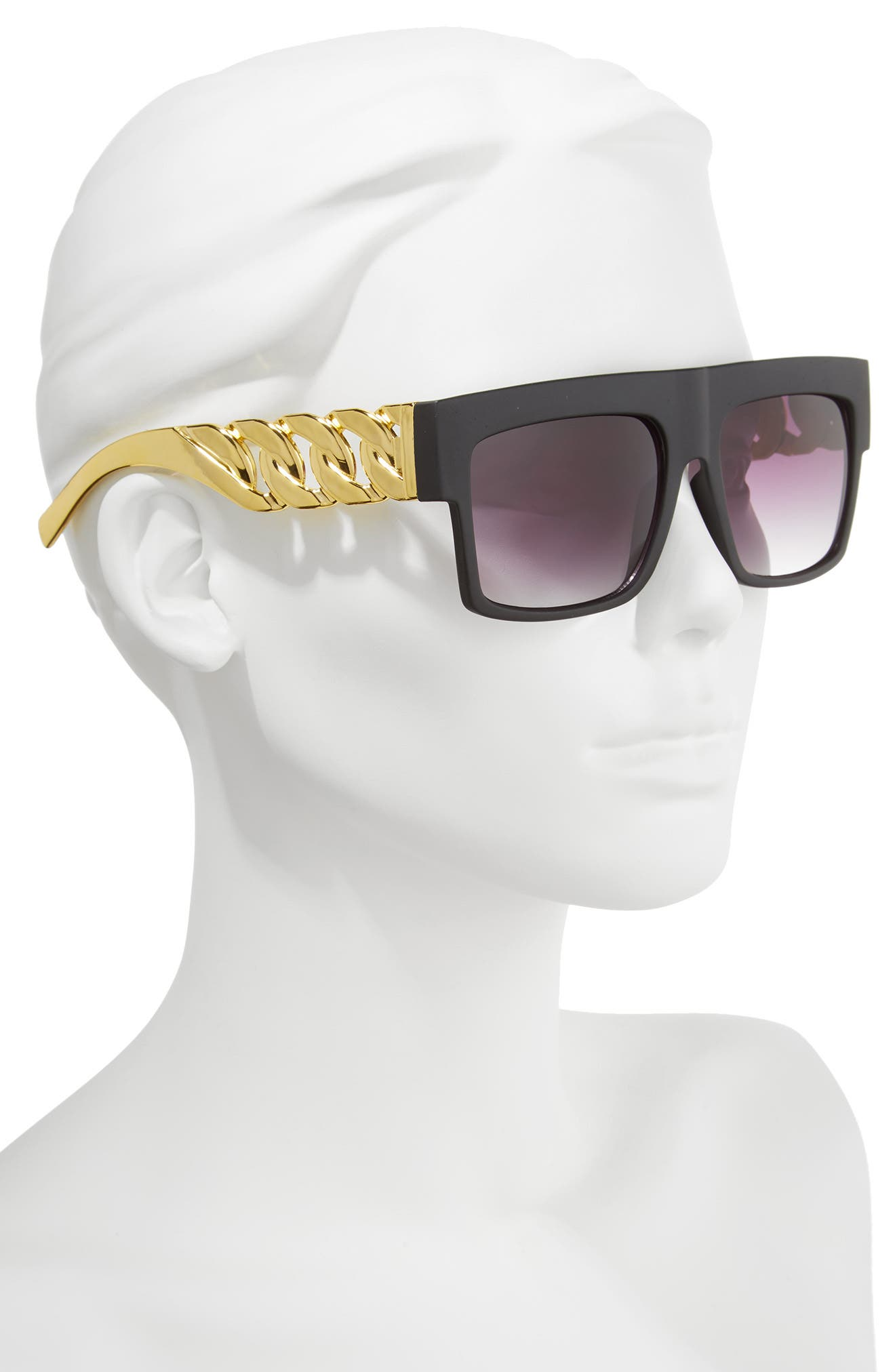 52mm Chain Detail Shield Sunglasses,                             Alternate thumbnail 2, color,                             Black/ Gold