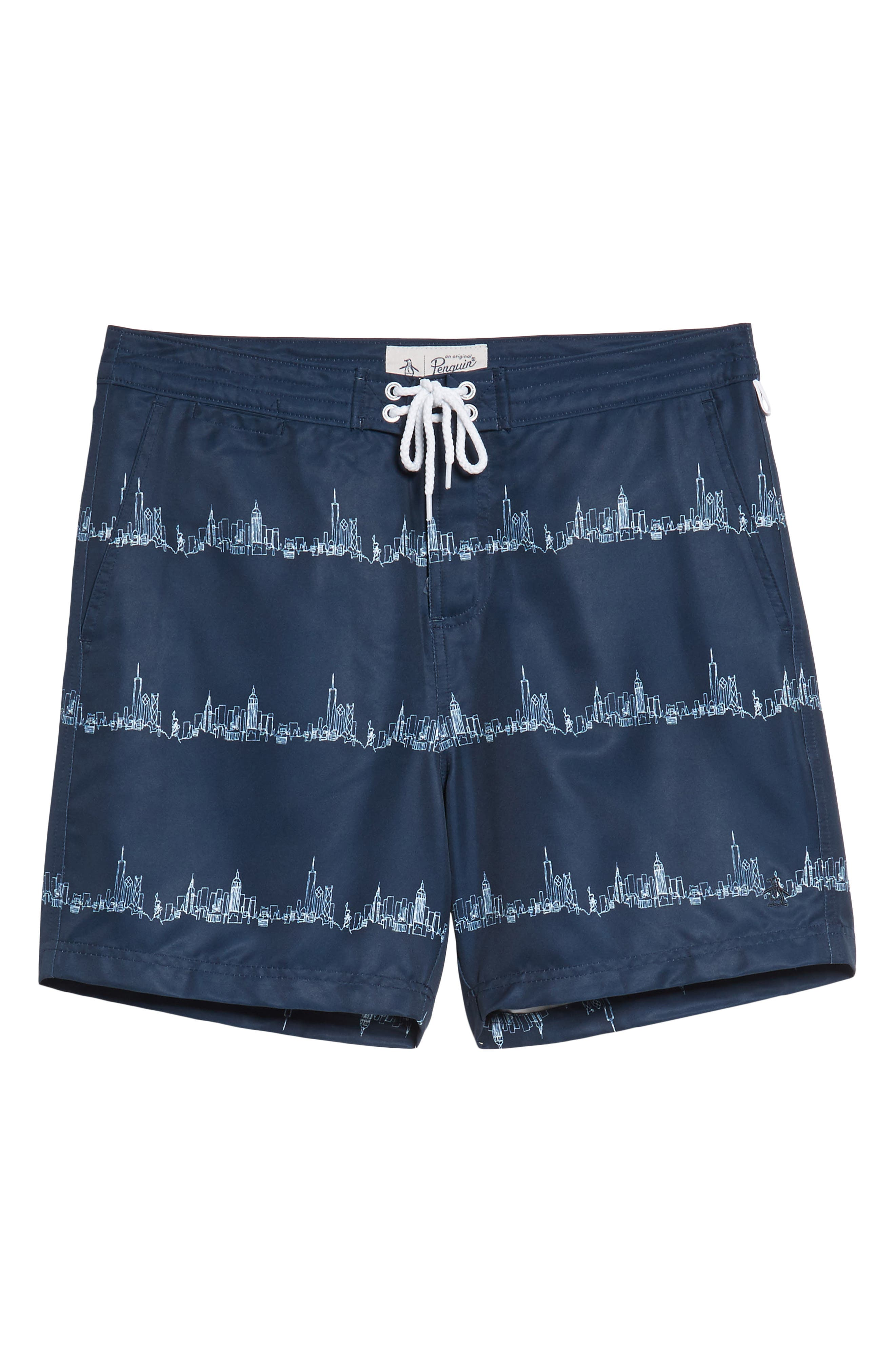 Fixed Stretch Volley Board Shorts,                             Alternate thumbnail 7, color,                             Dark Sapphire