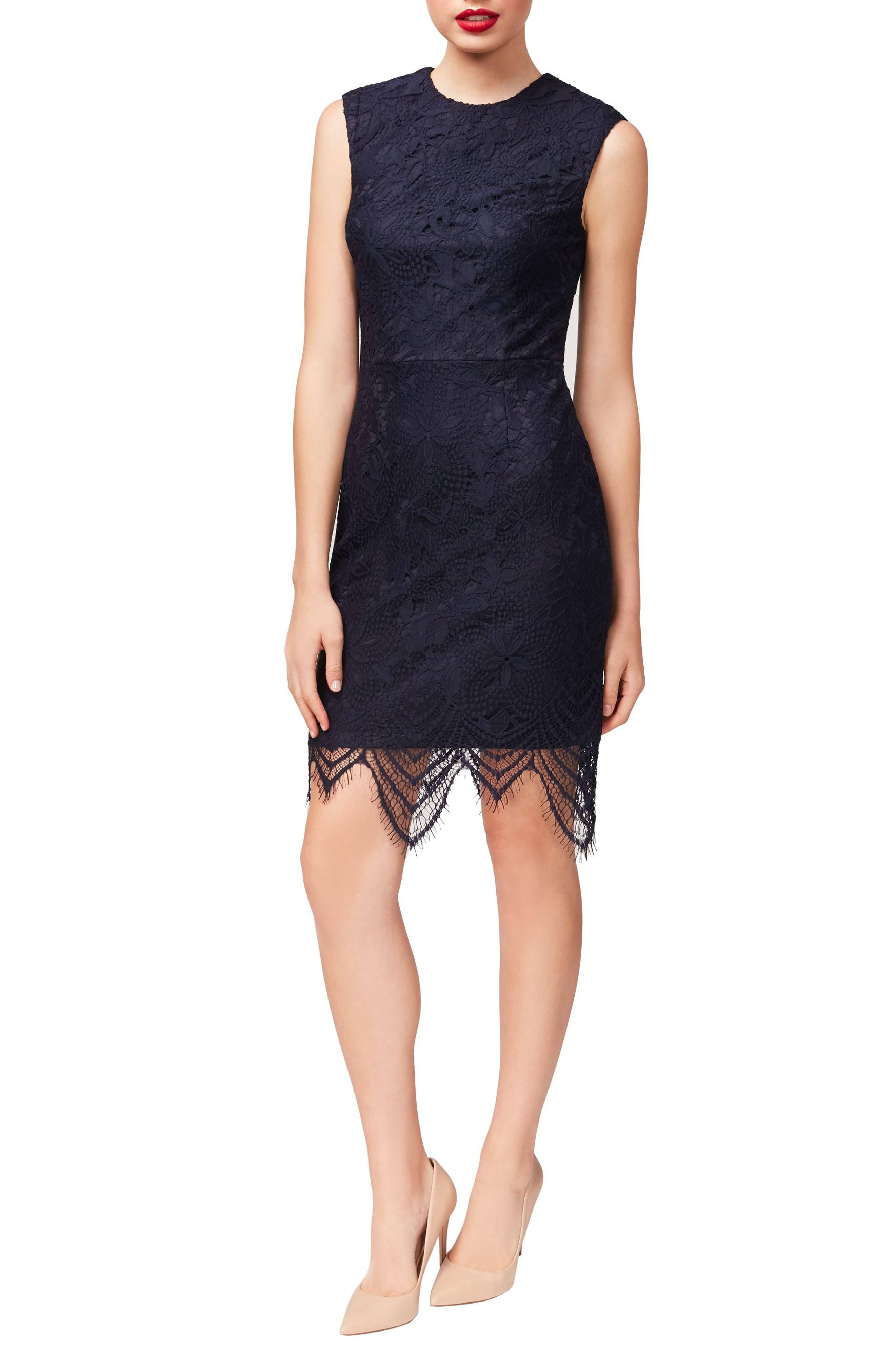 Alternate Image 1 Selected - Betsey Johnson Lace Sheath Dress