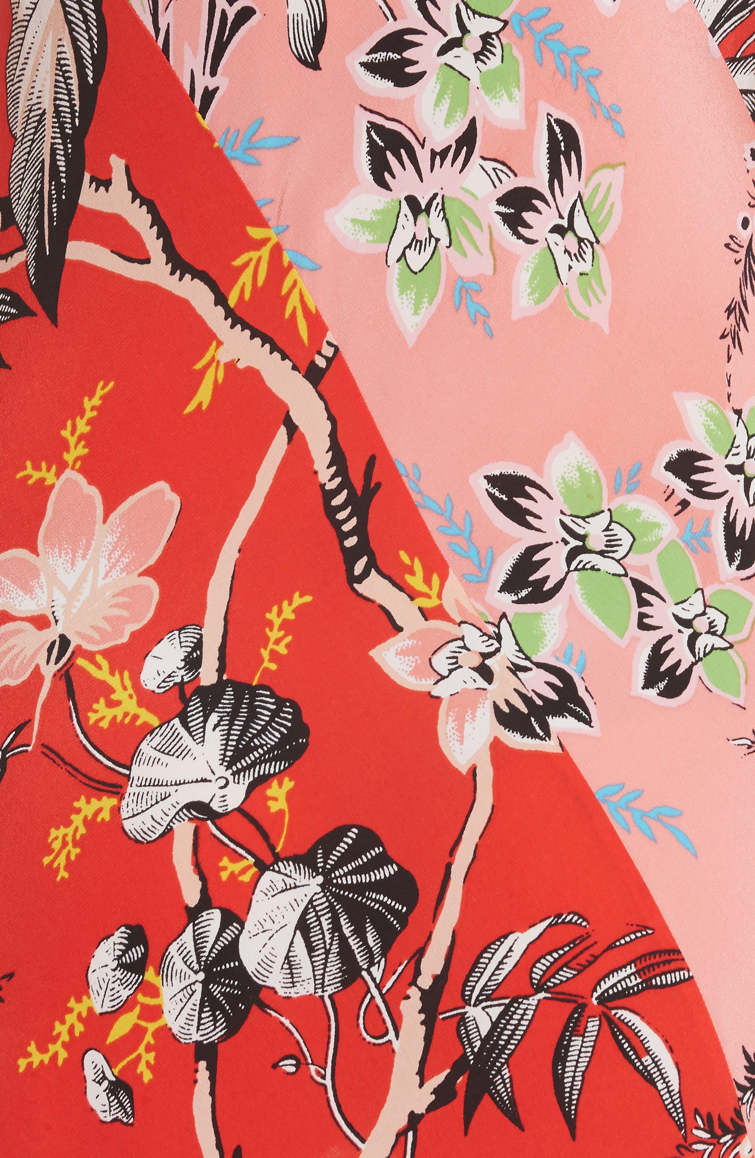 Diane von Furstenberg Paneled Silk Maxi Dress,                             Alternate thumbnail 5, color,                             Avalon Poppy/ Avalon Hyacinth