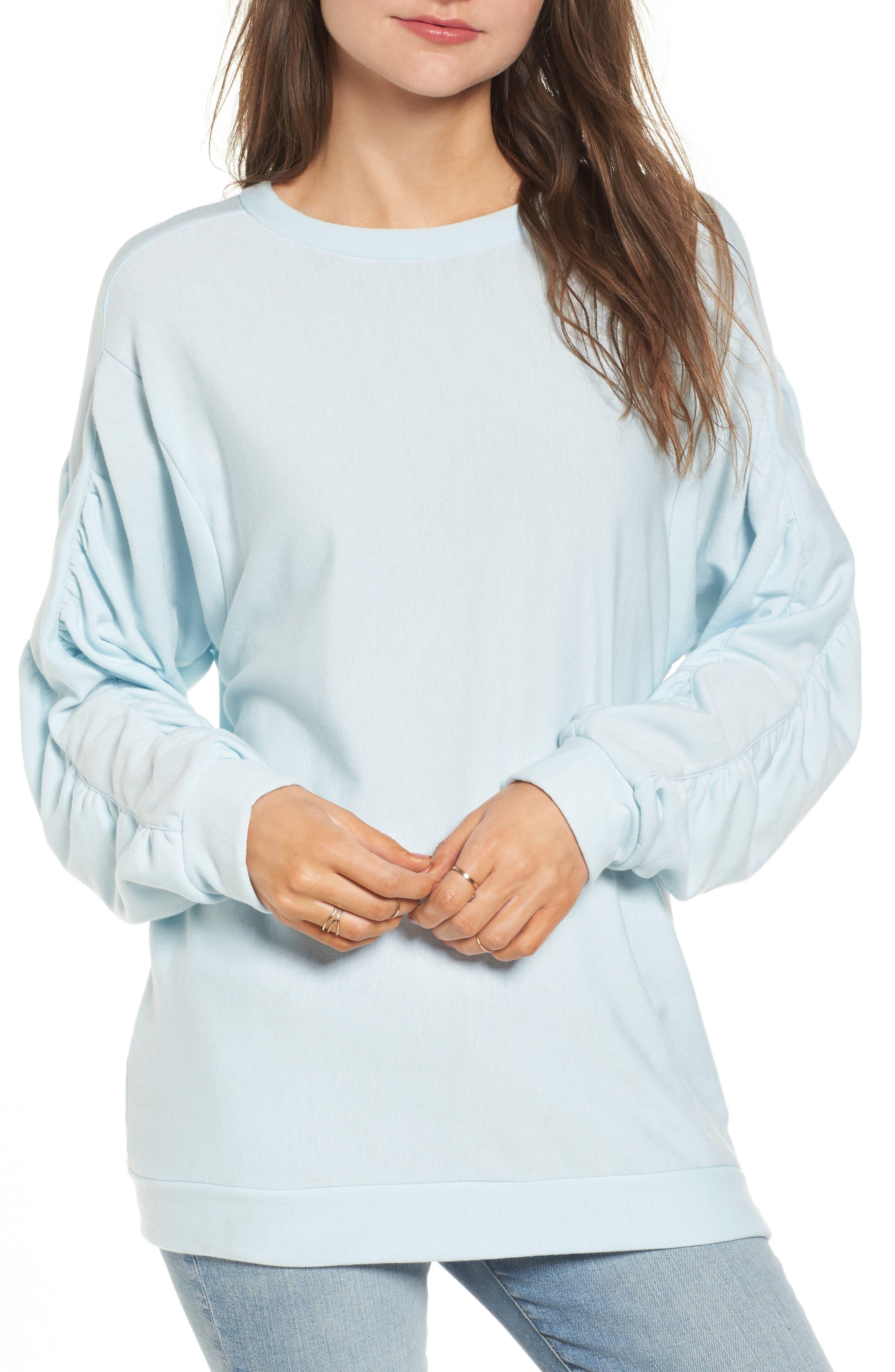 Ruched Sleeve Sweatshirt,                             Main thumbnail 1, color,                             Light Blue