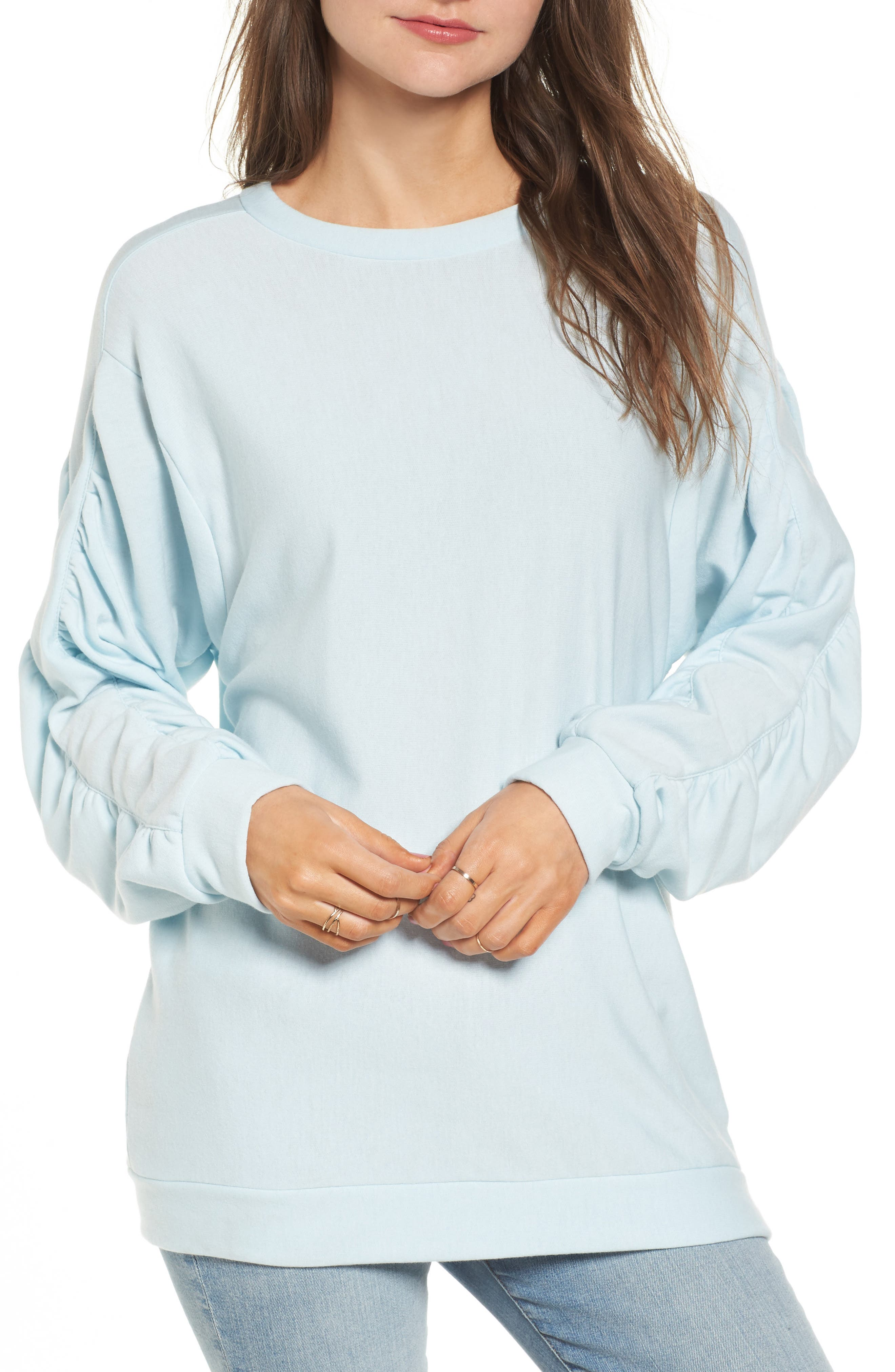 Ruched Sleeve Sweatshirt,                         Main,                         color, Light Blue