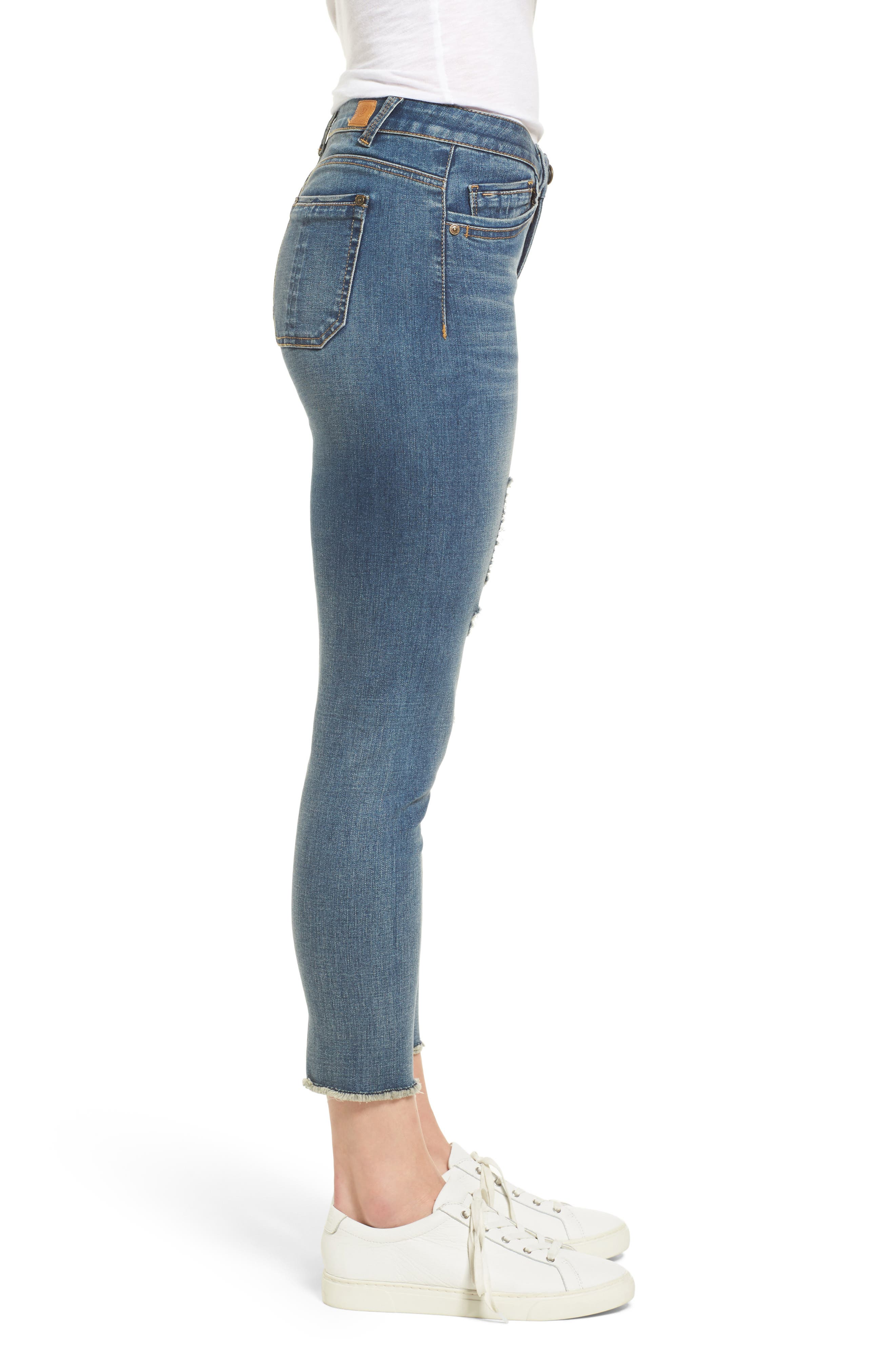 Ripped Seamless Ankle Jeans,                             Alternate thumbnail 3, color,                             Blue
