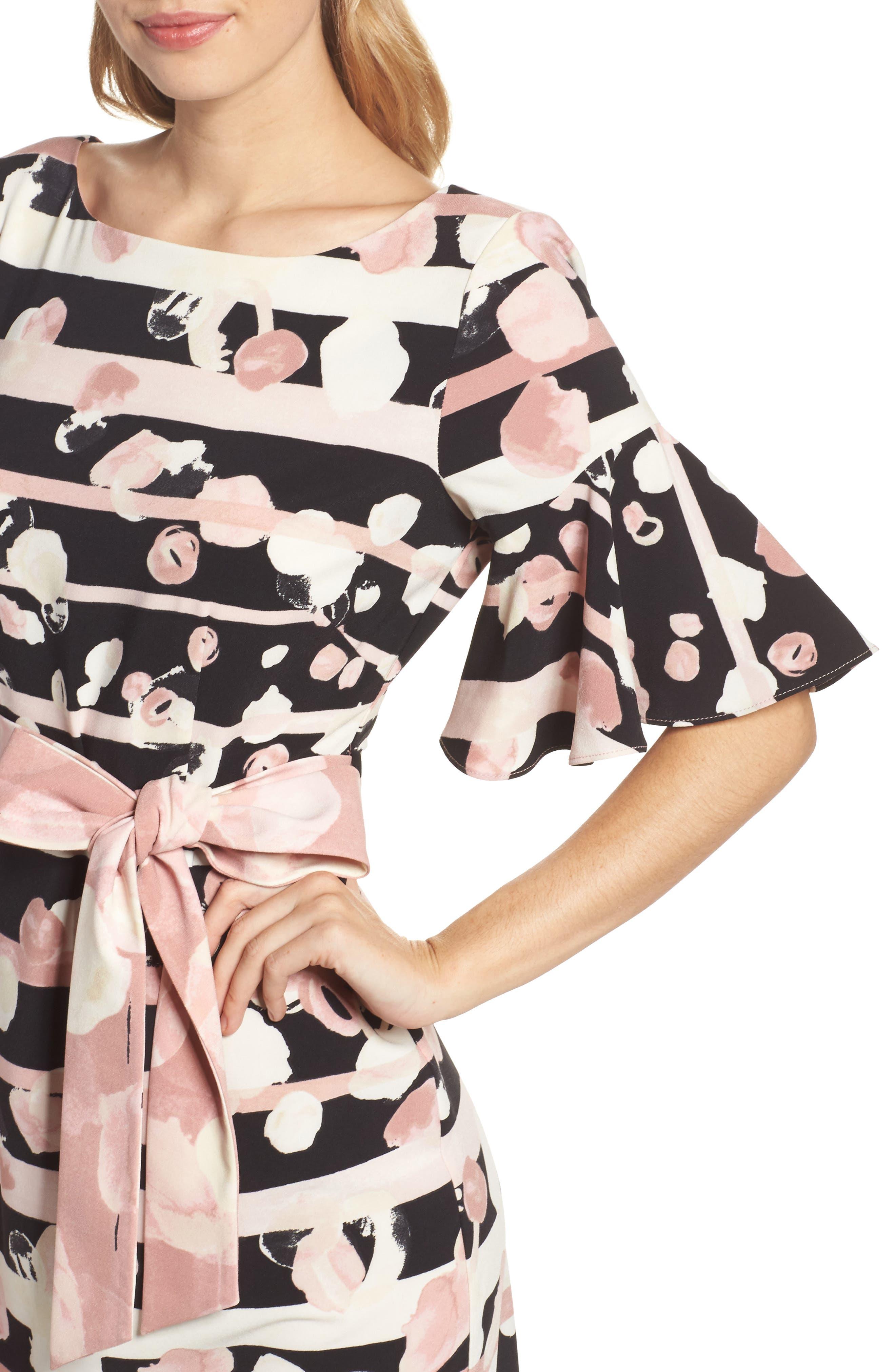 Stripe Sheath Dress,                             Alternate thumbnail 4, color,                             Blush/ Ivory