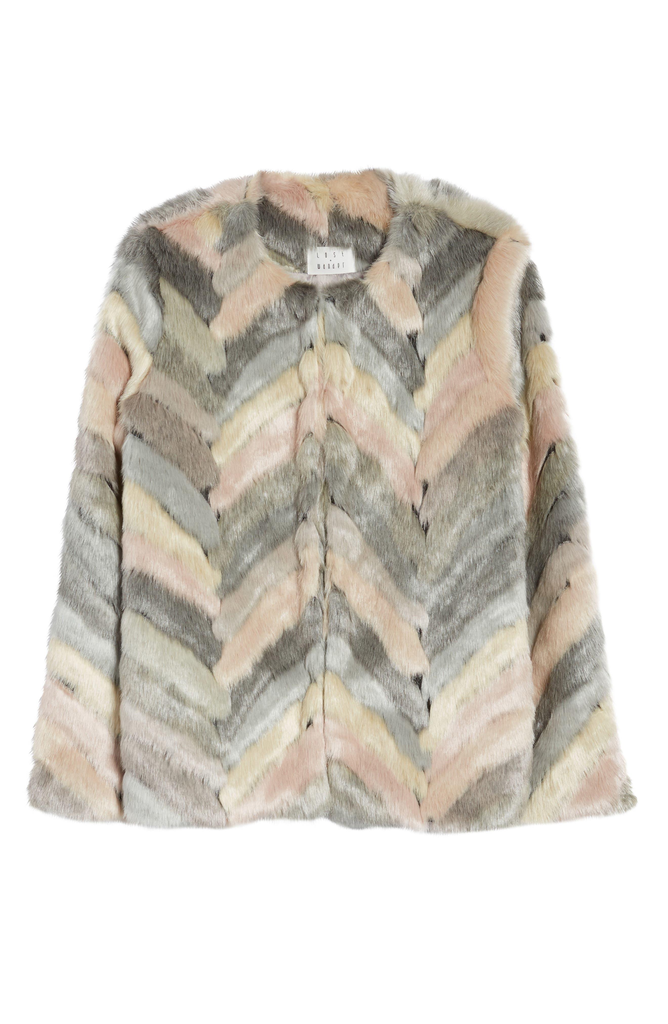 Voila Faux Fur Jacket,                             Alternate thumbnail 6, color,                             Multi