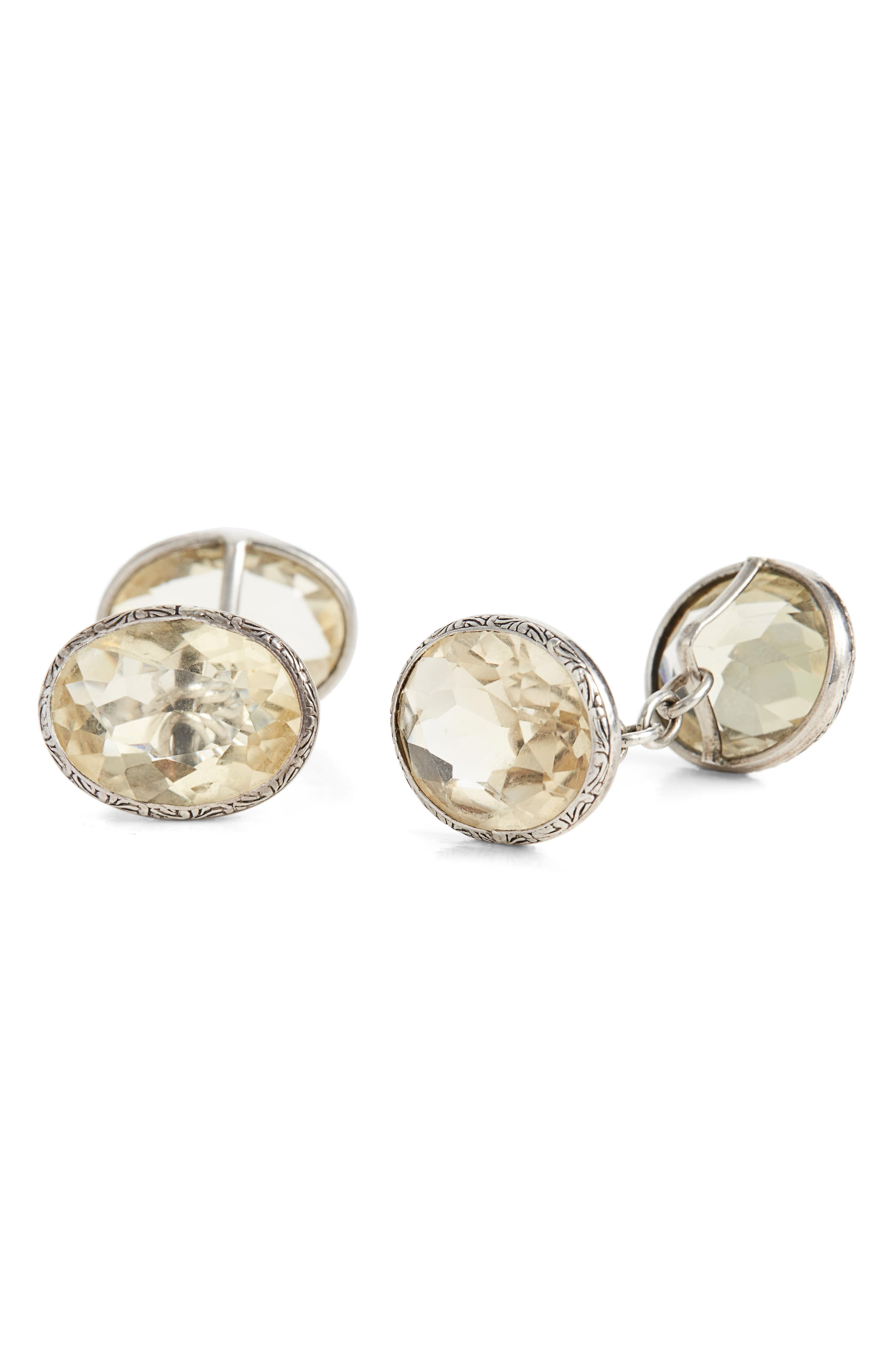 Foundwell One of a Kind Vintage Citrine Silver Oval Faceted Cuff Links