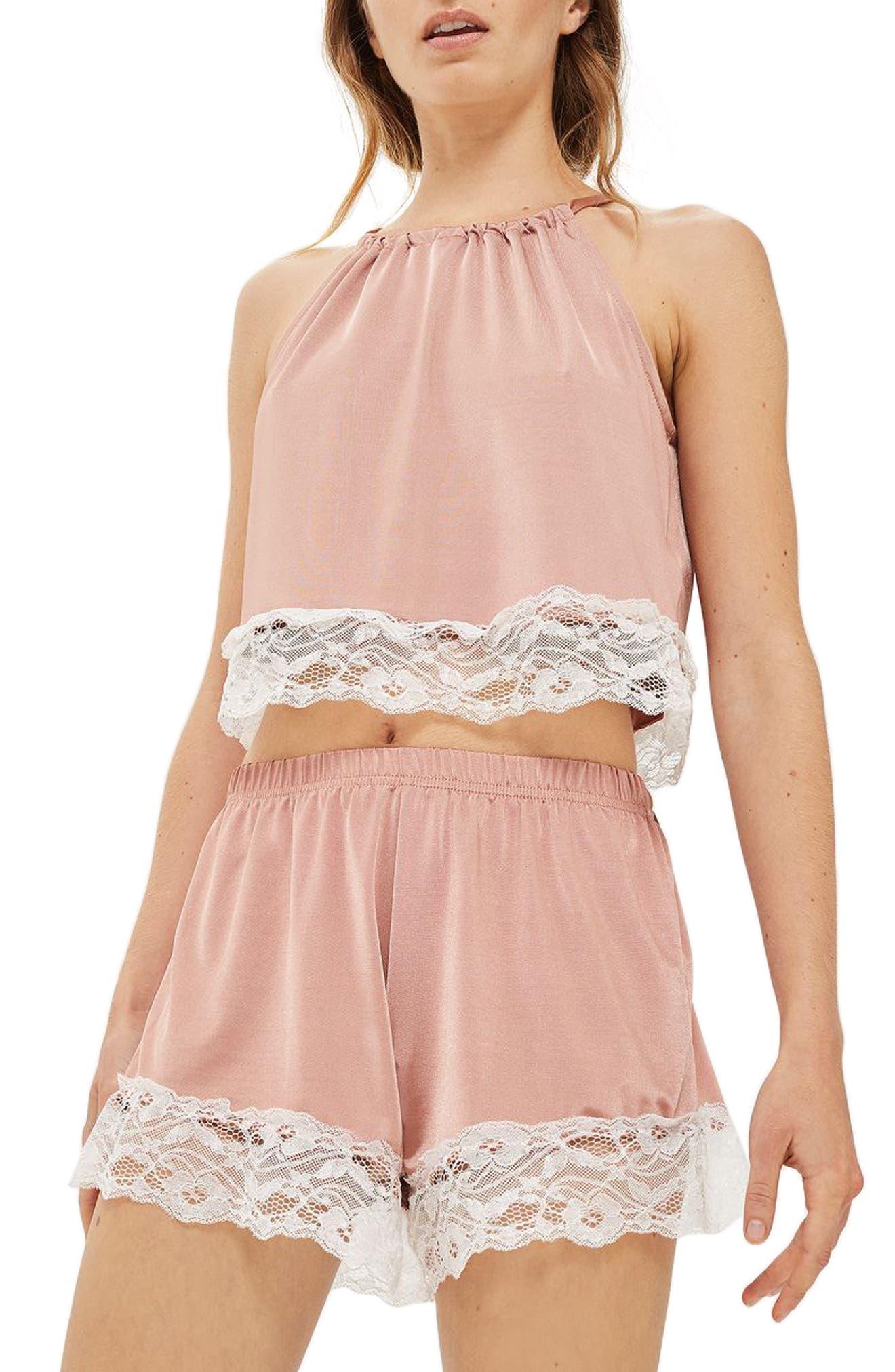 Satin & Lace Halter Pajama Top,                         Main,                         color, Nude