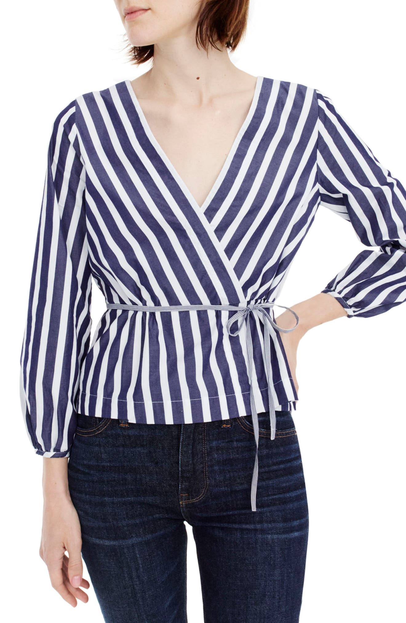 J.Crew Stripe Faux Wrap Top,                             Main thumbnail 1, color,                             Navy/ White