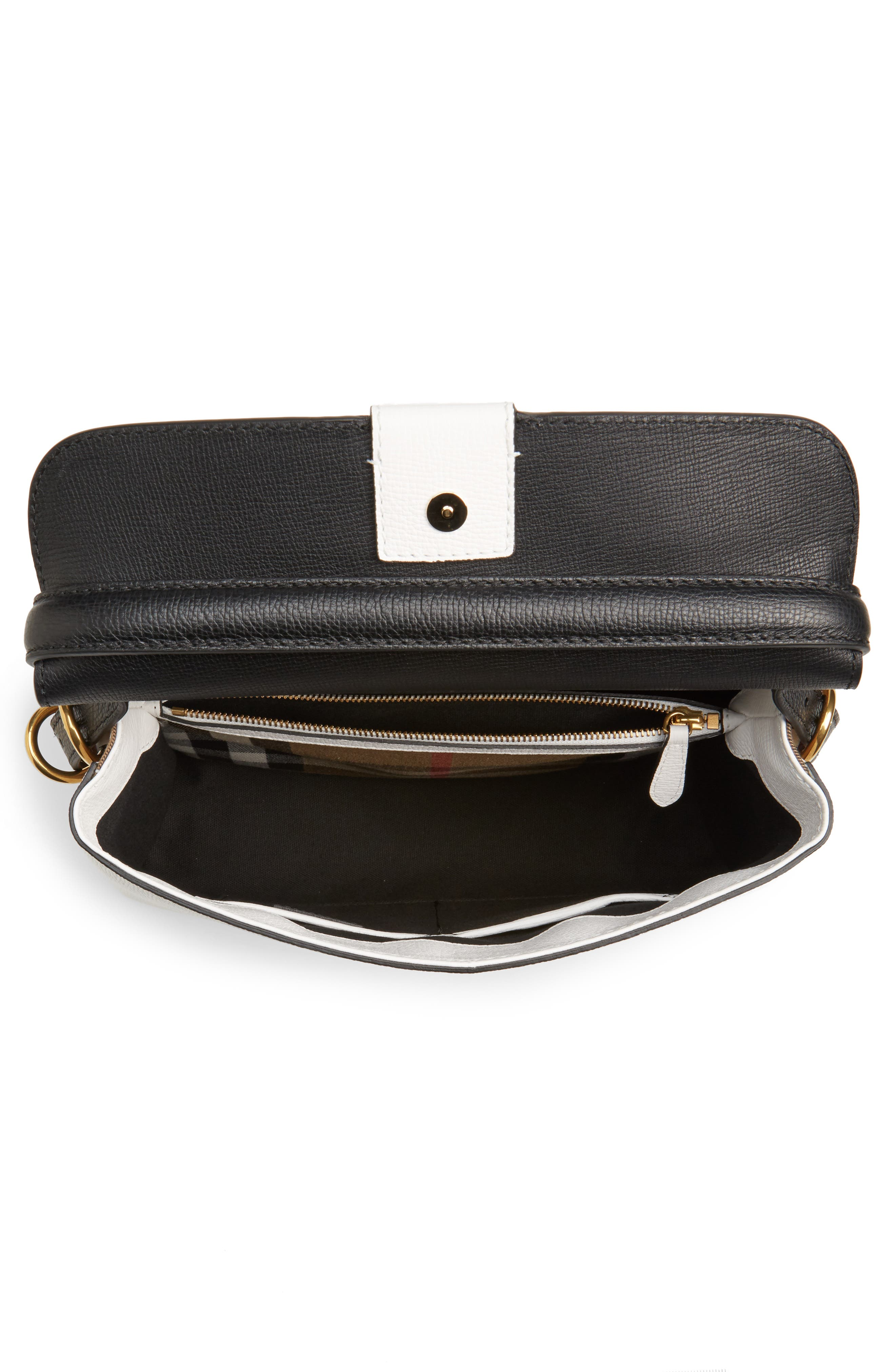 Medium Camberley Colorblock Leather & House Check Top Handle Satchel,                             Alternate thumbnail 4, color,                             White/ Black