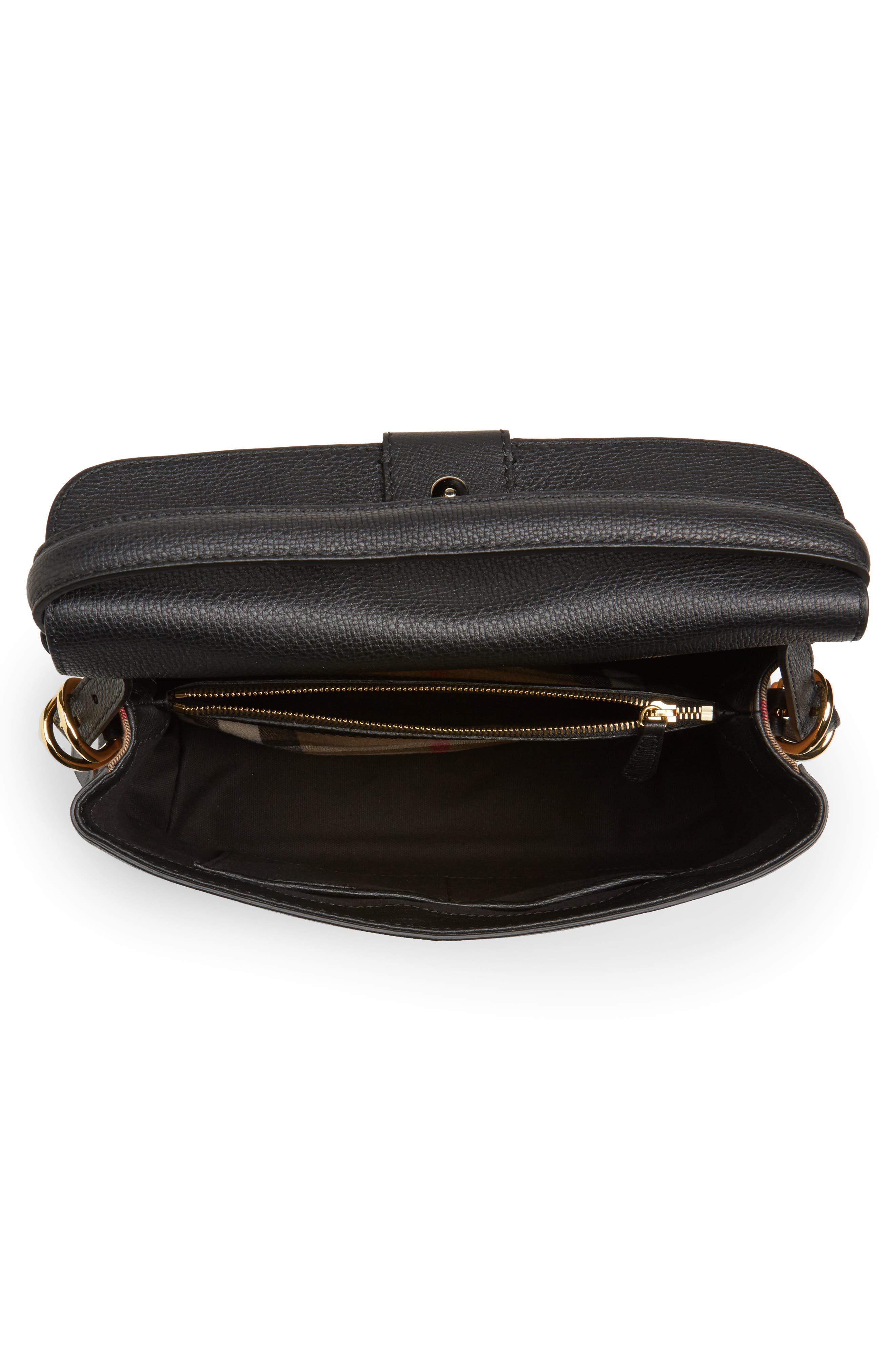 Medium Camberley Leather & House Check Top Handle Satchel,                             Alternate thumbnail 4, color,                             Black