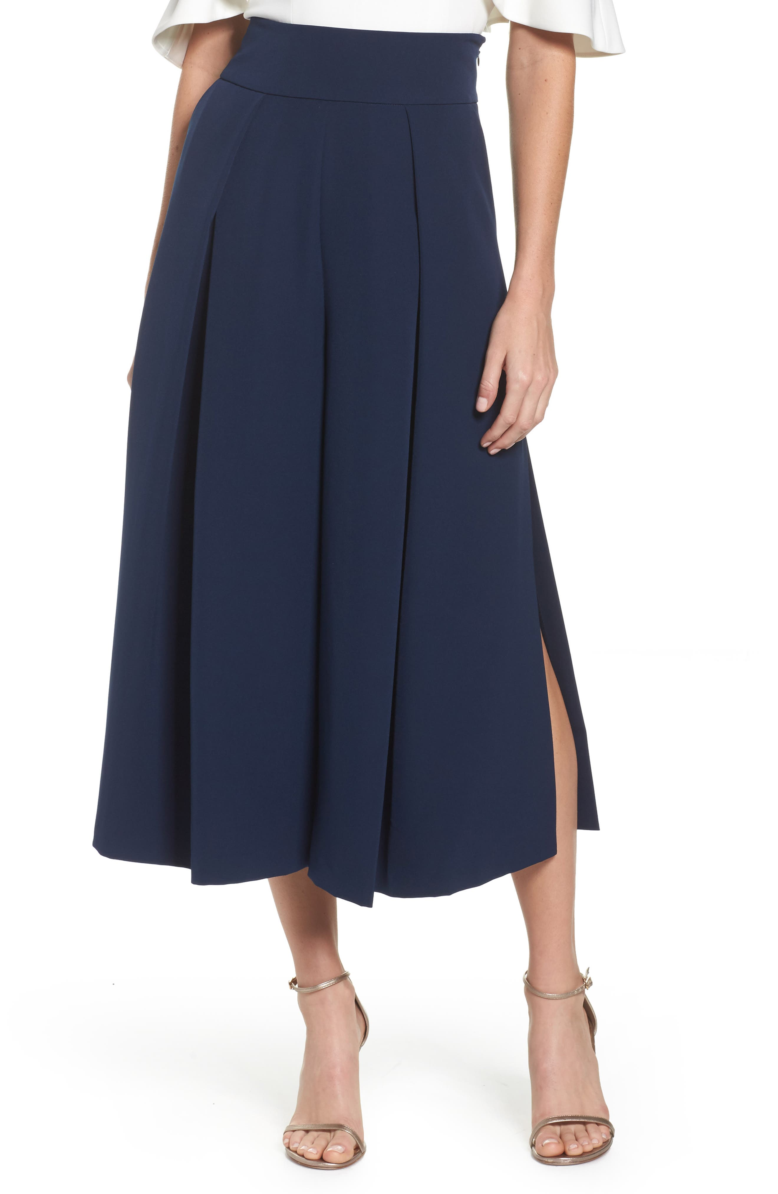 Pleated Wide Leg Pants,                         Main,                         color, Navy