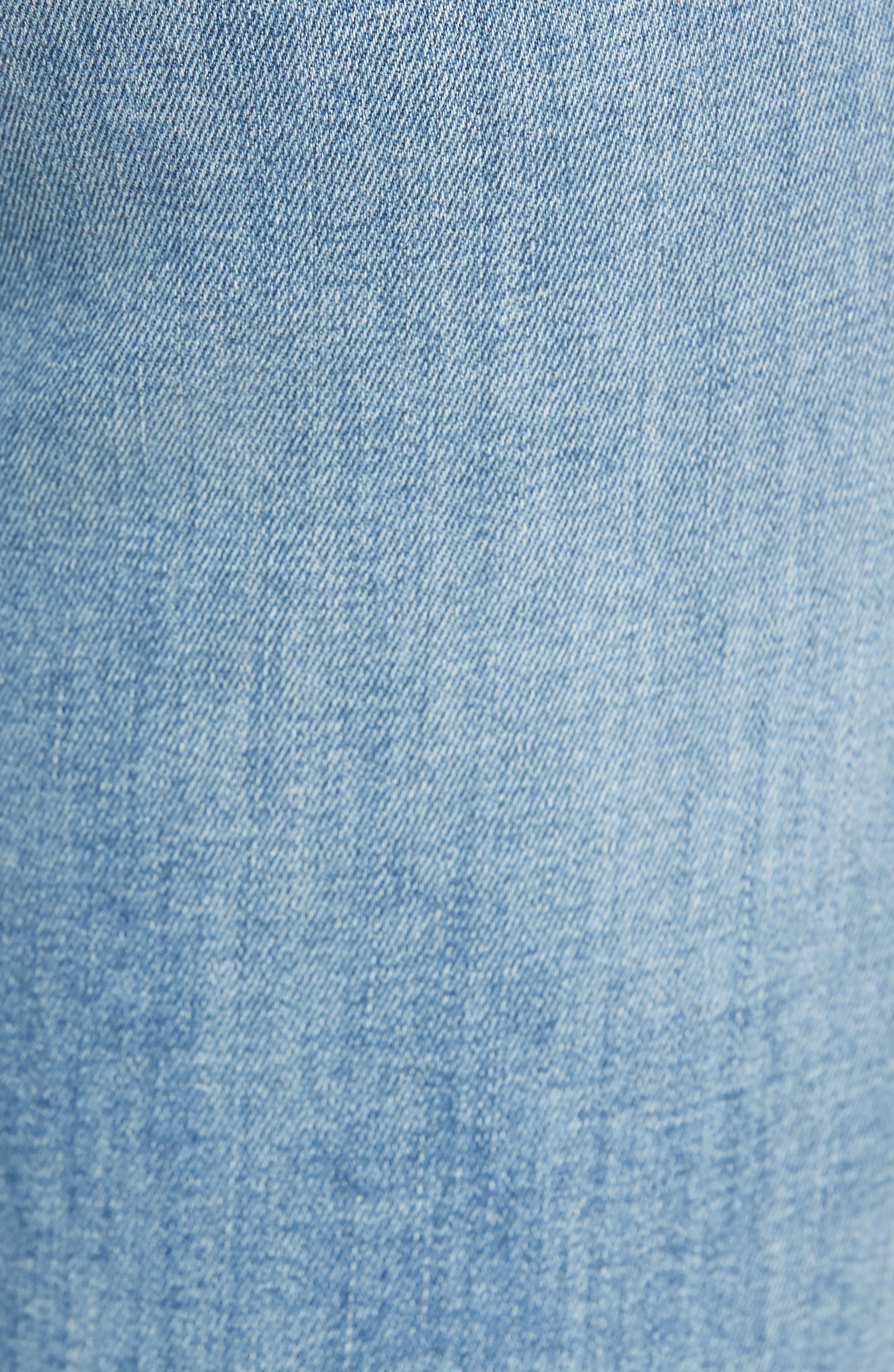 Edie Distressed Skinny Jeans,                             Alternate thumbnail 5, color,                             Light Wash